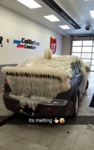 Tweet from West Herr Auto Group @WestHerr: #carcicle melting at our collision shop in Hamburg...