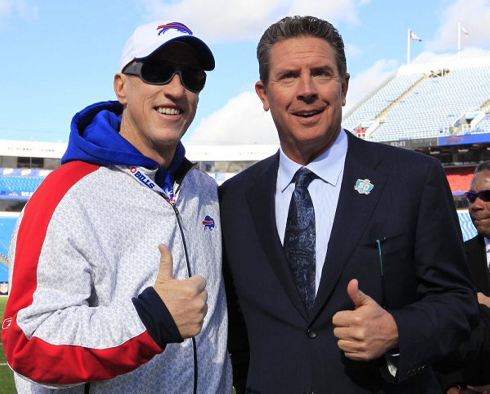 Things weren't always so chummy between Jim Kelly and Dan Marino, pictured before a Bills game this year. (Harry Scull Jr./Buffalo News)