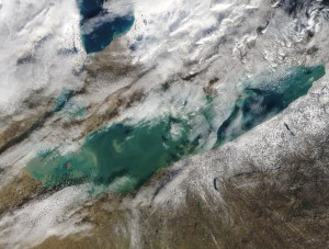 The wide open waters of a 38-degree Lake Erie Thursday will set the stage for several rounds of lake-effect snow during an arctic system next week, according to forecasters. (NASA)