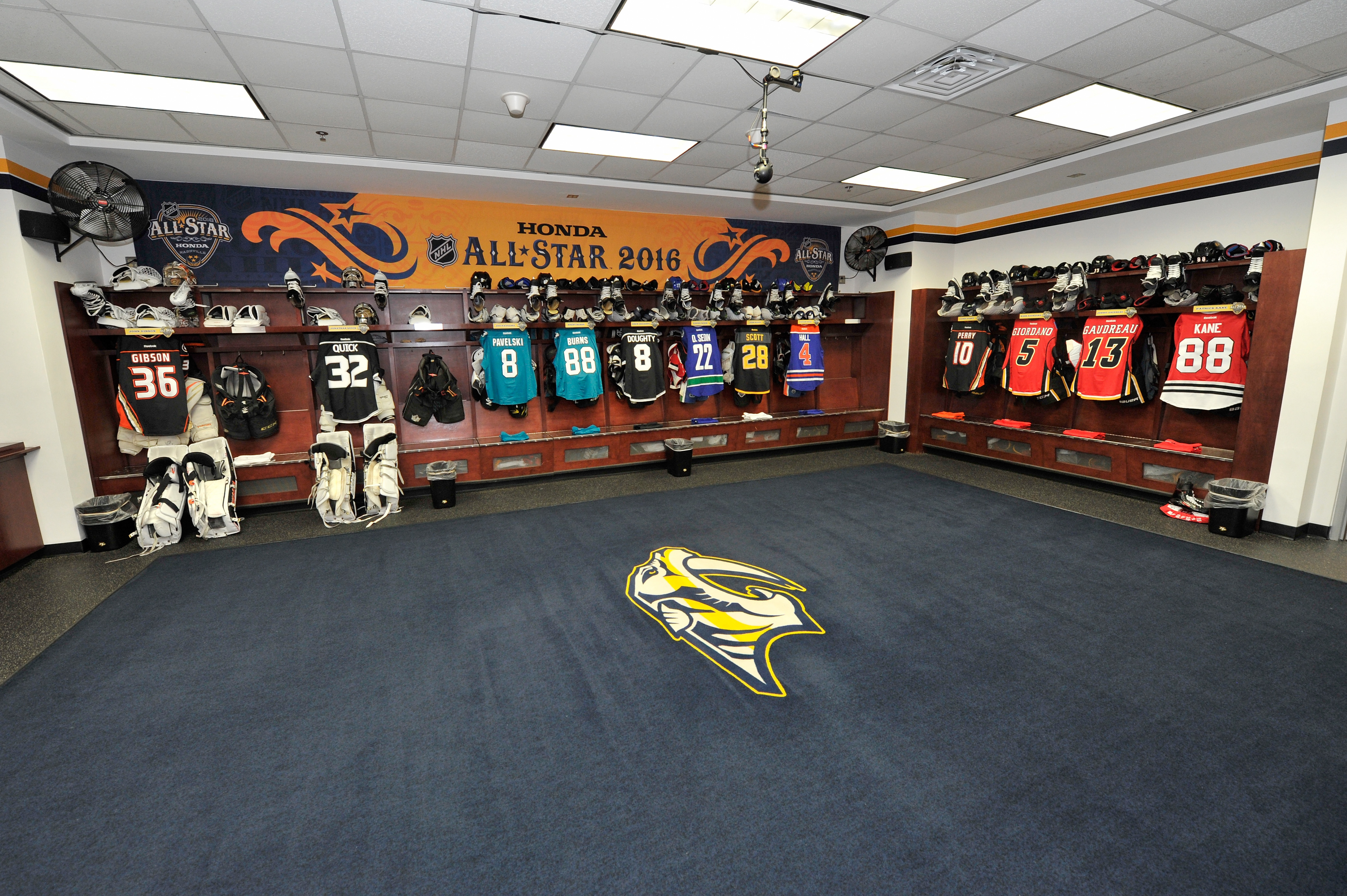 The Western Conference dressing room for Saturday's Skills Competition will house the Central and Pacific stars today (Getty Images).