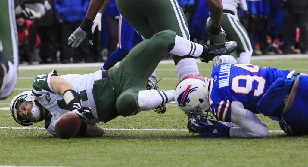 Mario Williams sacks Ryan Fitzpatrick in the first half. (Harry Scull Jr./Buffalo News)