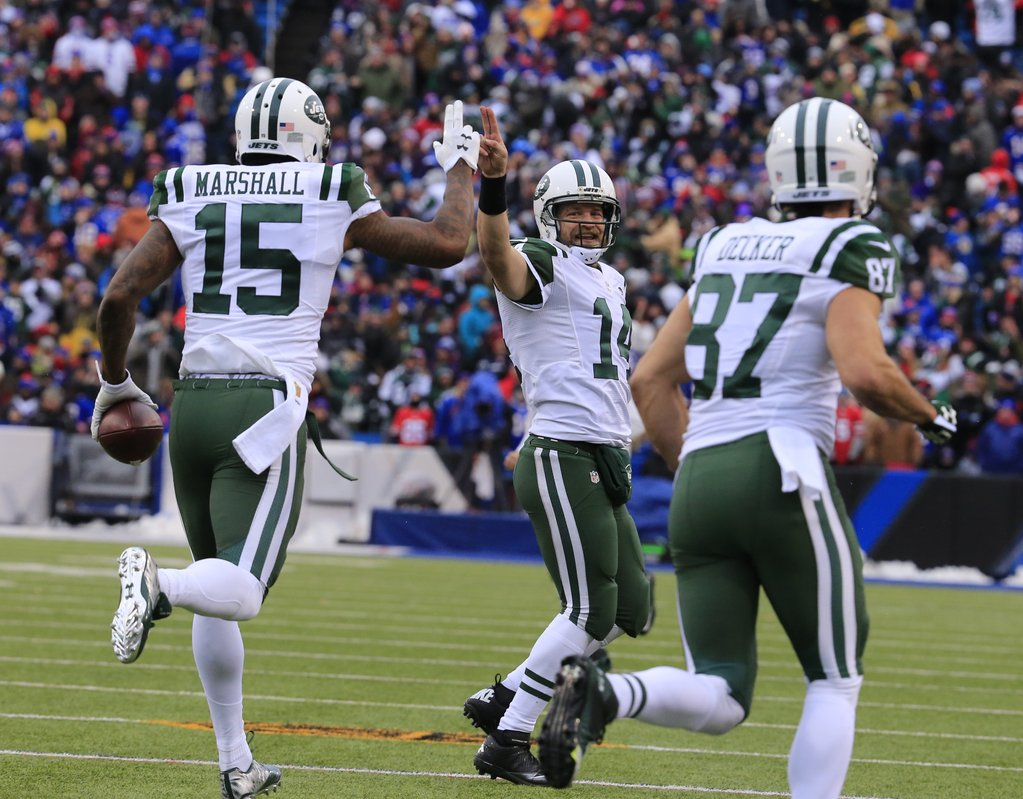 Ryan Fitzpatrick and Brandon Marshall celebrate a first-half score. (Harry Scull Jr./Buffalo News)