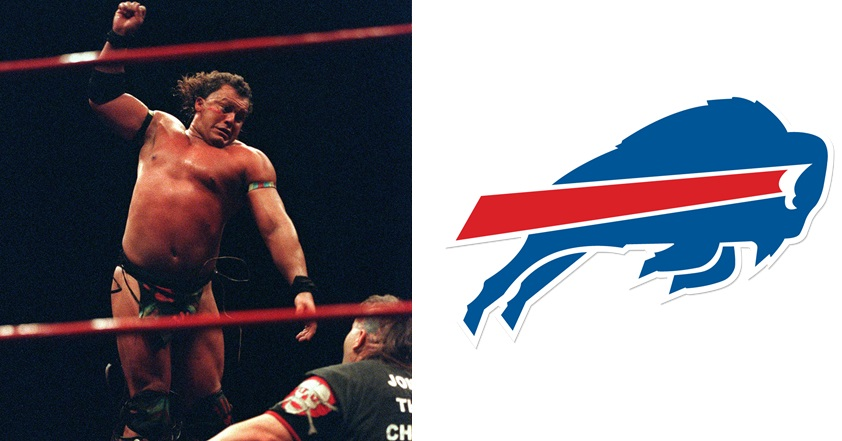 Tatanka, left, is the wrestler connected to the Buffalo Bills' logo by entertainment site UpRoxx. (Tatanka via Getty Images, Bills' official logo from BuffaloBills.com)