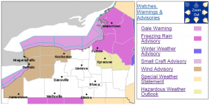 A wind advisory is in effect for most of Western New York from 10 a.m. to 6 p.m. (NWS)