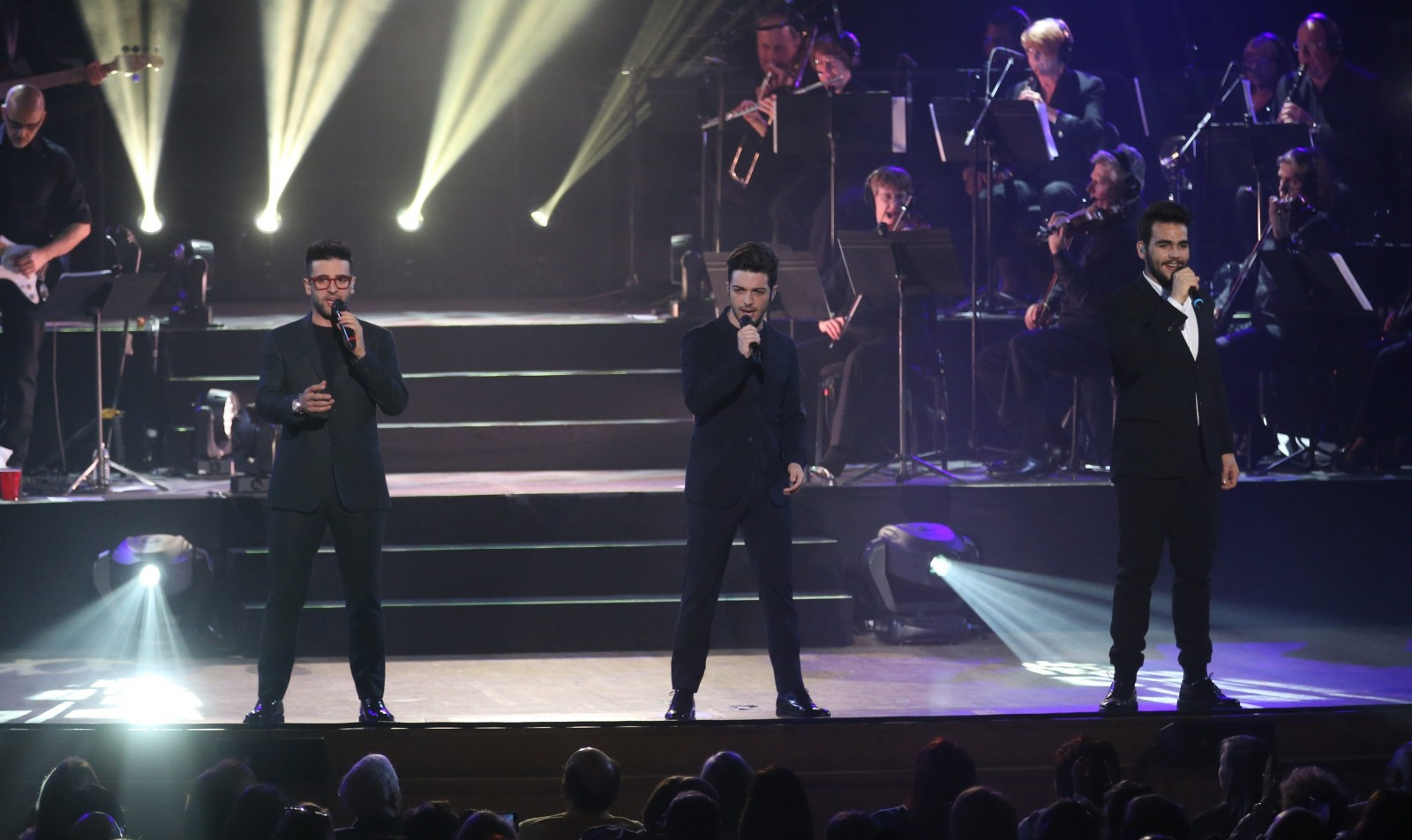 The Italian trio Il Volo – from left, tenor Piero Barone, baritone Gianluca Ginoble and tenor Ignazio Boschetto – gave the Kleinhans Music Hall audience an evening that blended Italian love songs with some American classics. (Sharon Cantillon/Buffalo News)