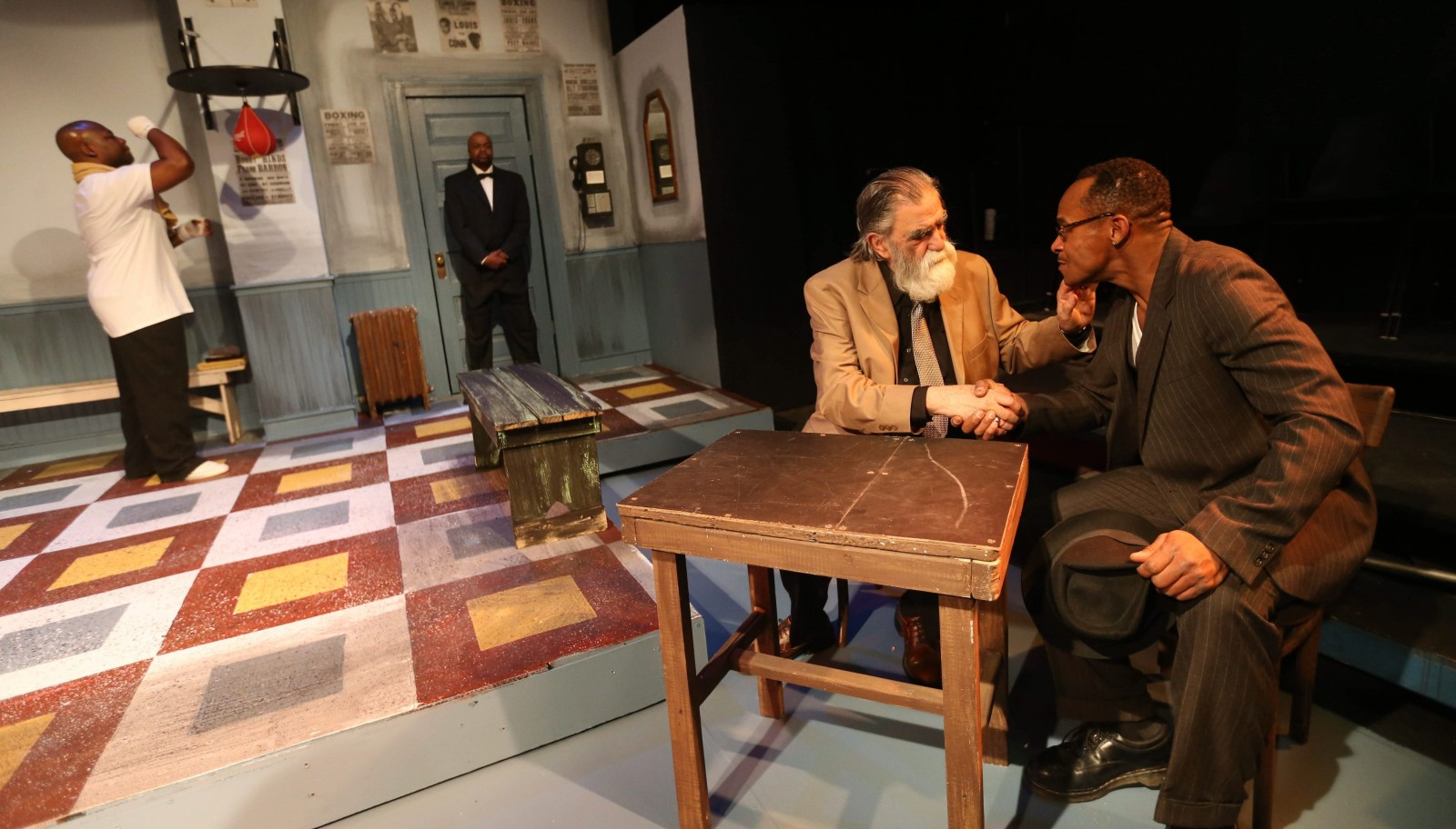 """Joe Giambra, left, plays Williams Fox and Fisher is Stepin Fetchit in """"Fetch Clay, Make Man,"""" now playing at the African American Cultural Center at 350 Masten Ave. in Buffalo."""