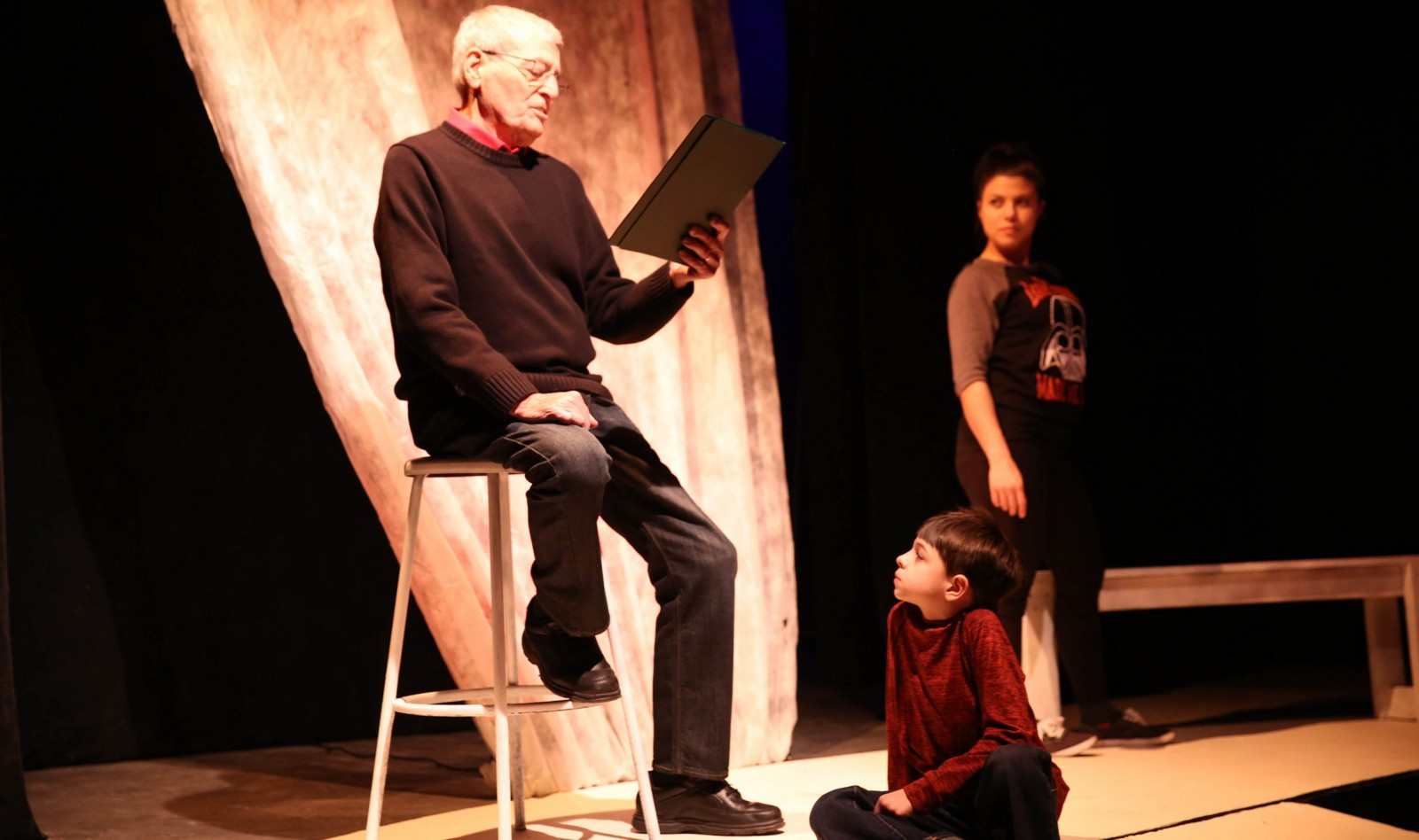 """Joe Natale, Jamie Docktor and Noah Docktor star in the New Phoenix Theatre's production of """"Love's Passionate Fire."""""""