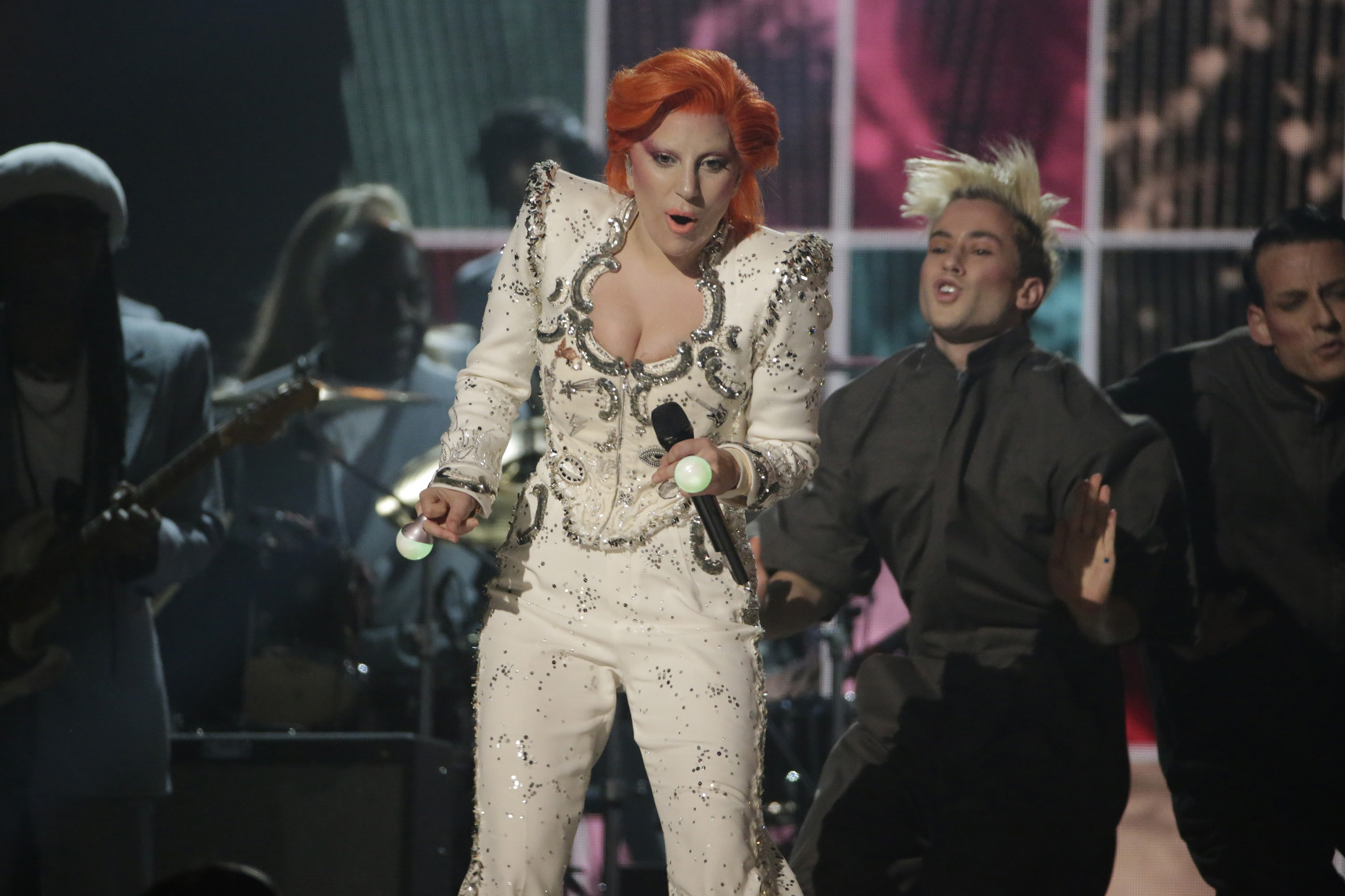 Lady Gaga performs her David Bowie tribute at the 58th Annual Grammy Awards on Monday, Feb. 15, 2016, at the Staples Center in Los Angeles. (Robert Gauthier/Los Angeles Times/TNS)