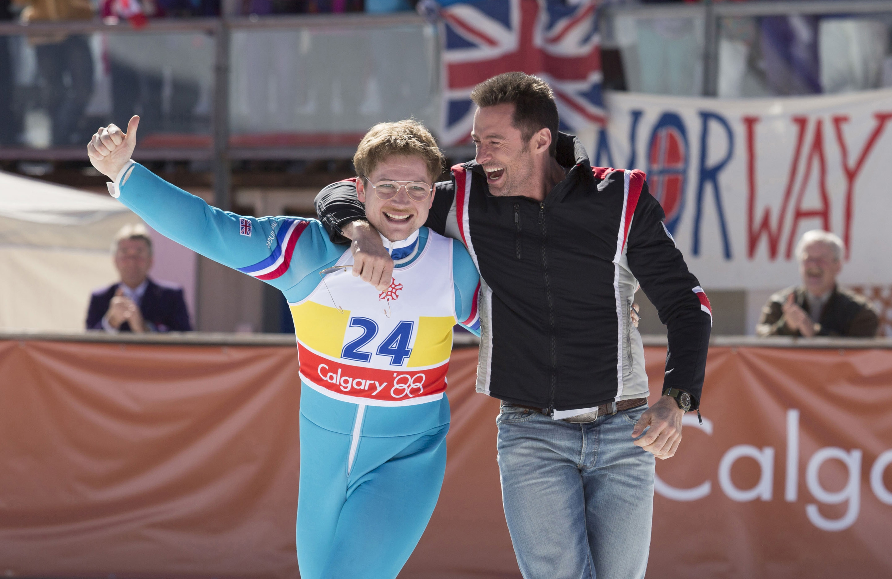 "Taron Egerton, left, and Hugh Jackman star in ""Eddie the Eagle."""