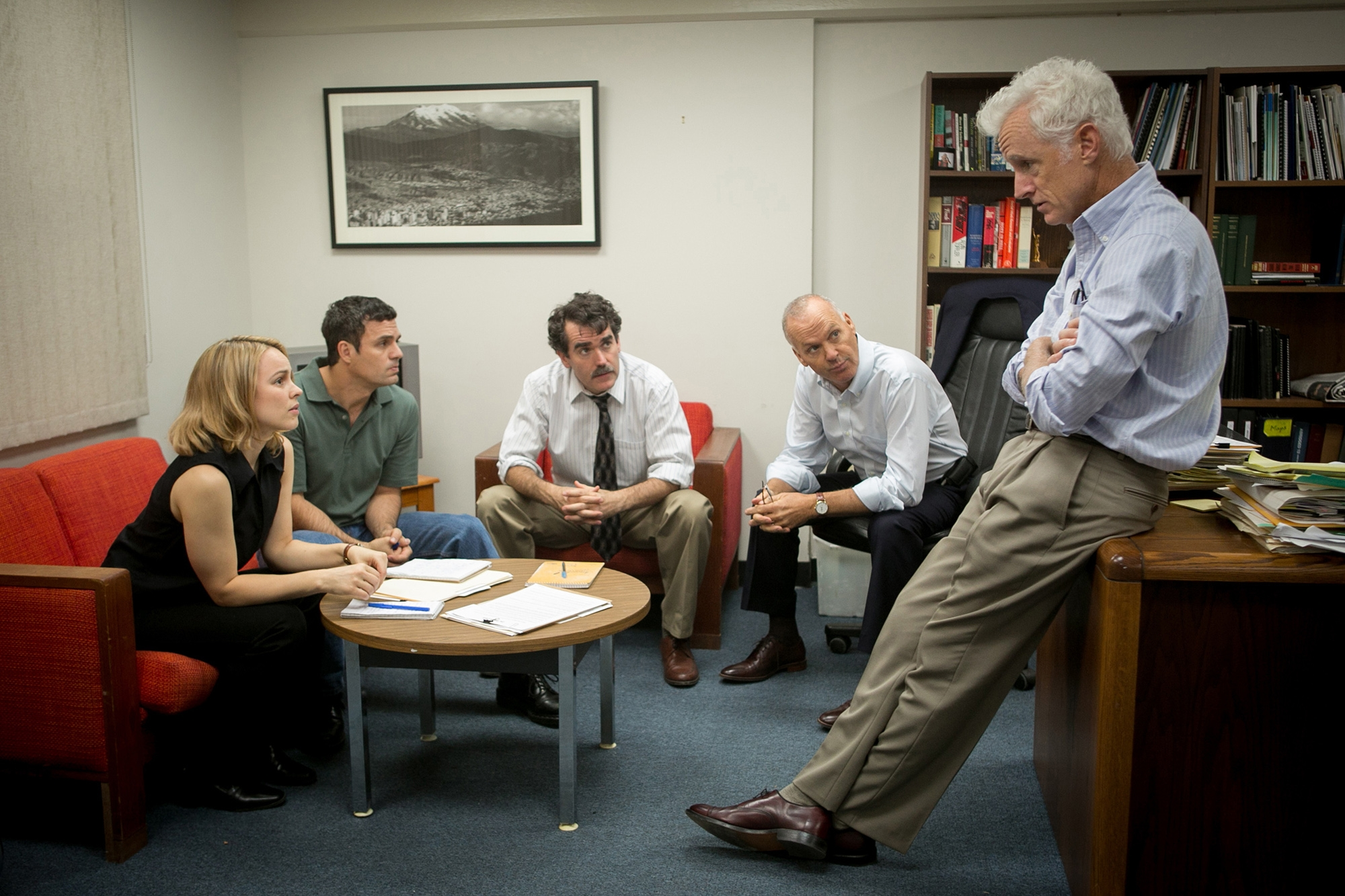 "From left, Rachel McAdams, Mark Ruffalo, Brian d'Arcy, Michael Keaton and John Slattery star in ""Spotlight."""
