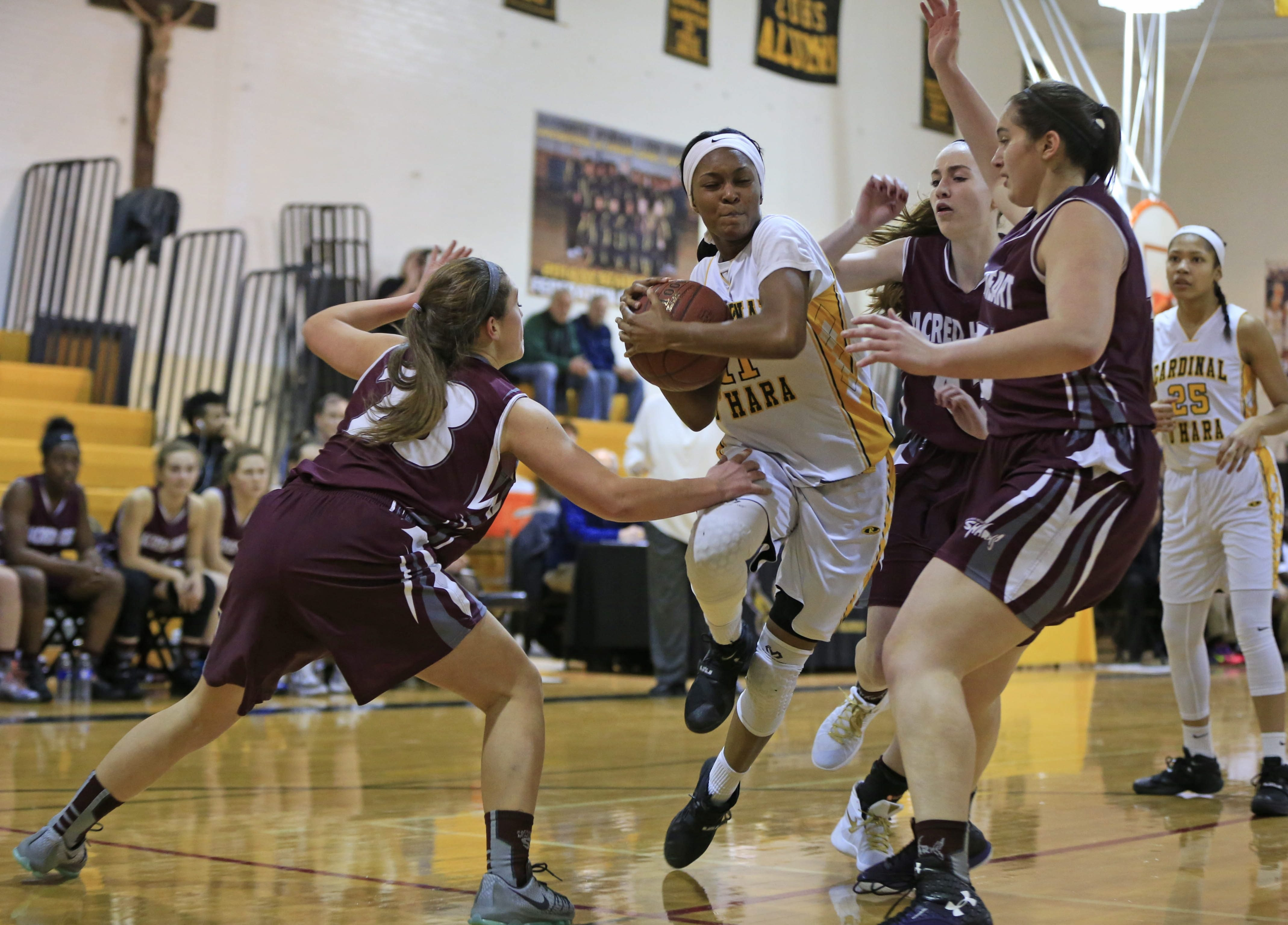 Anndea Zeigler and her Cardinal O'Hara basketball teammates may have to compete against teams from larger schools in the state postseason playoffs.