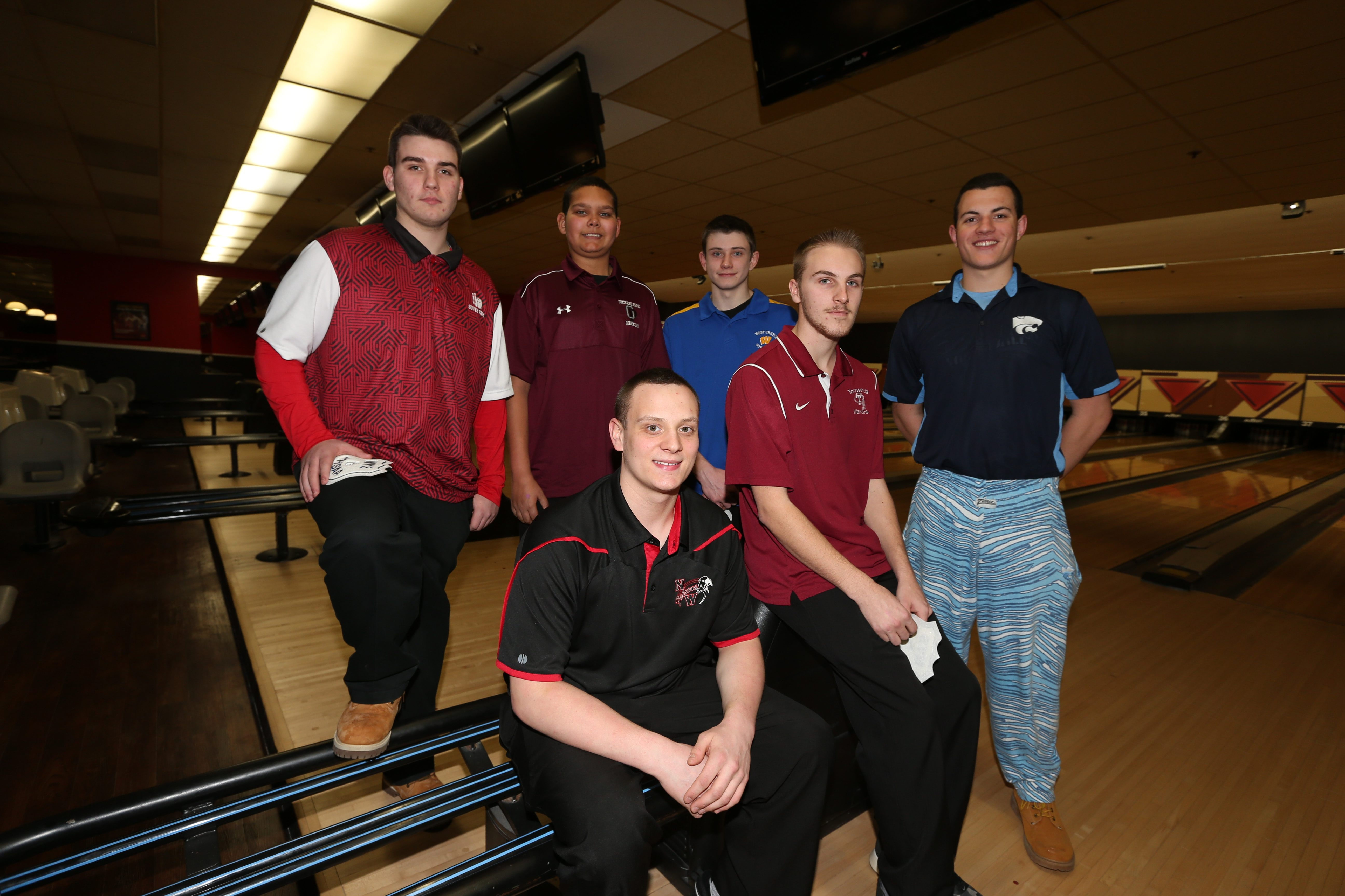 The six individuals that will return to Airport Lanes for the state tournament in three weeks are (left to right): Nate Maloney (Niagara-Wheatfield), Josh Large (Tonawanda), Joe Scapillato (Depew), Thomas Kowal (South Park), Tom Klenke (Orchard Park) and Andrew Burckhalter (West Seneca West).