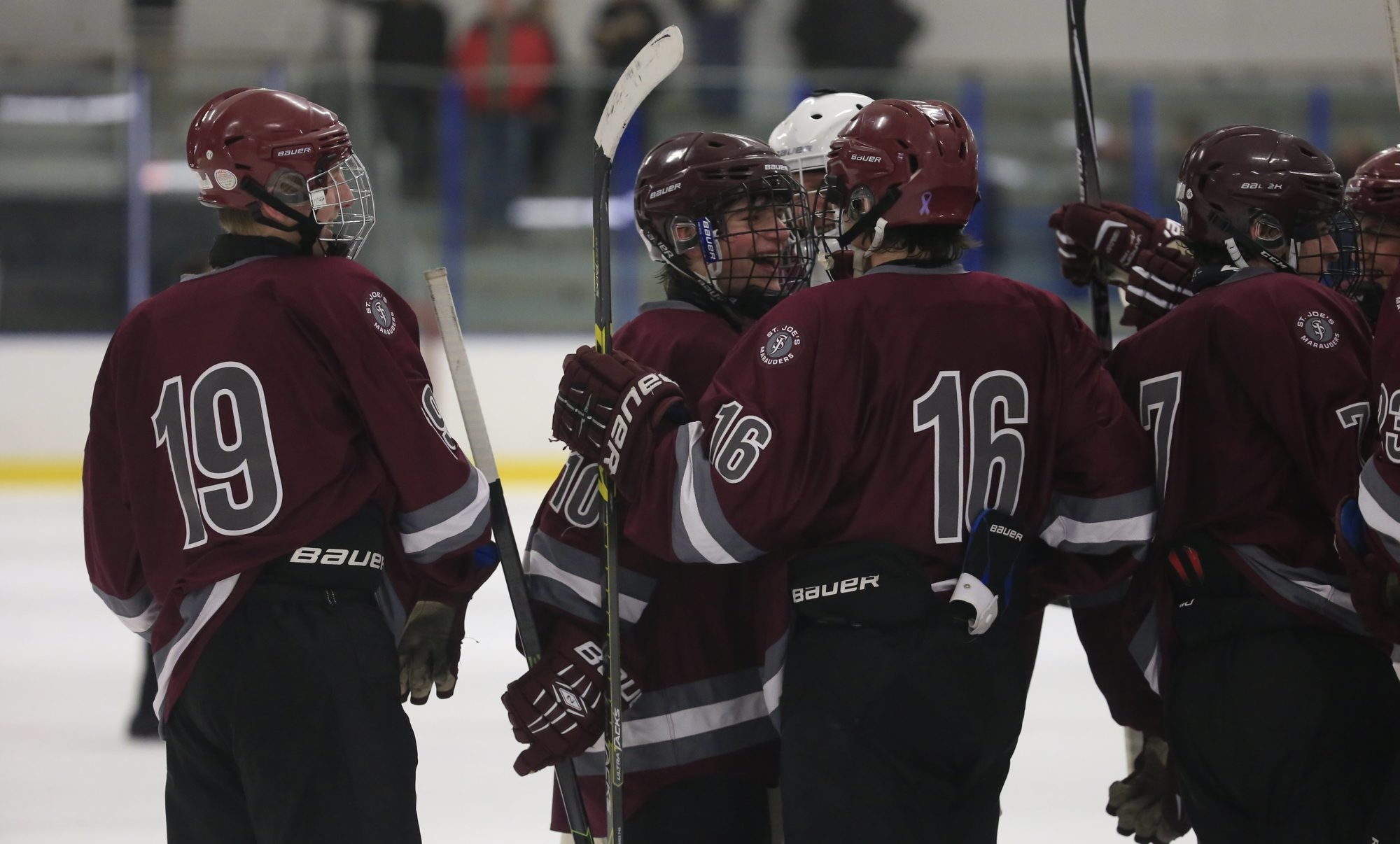 St. Joe's Michael Greco (10) celebrates with his teammates after scoring in overtime against Williamsville North.