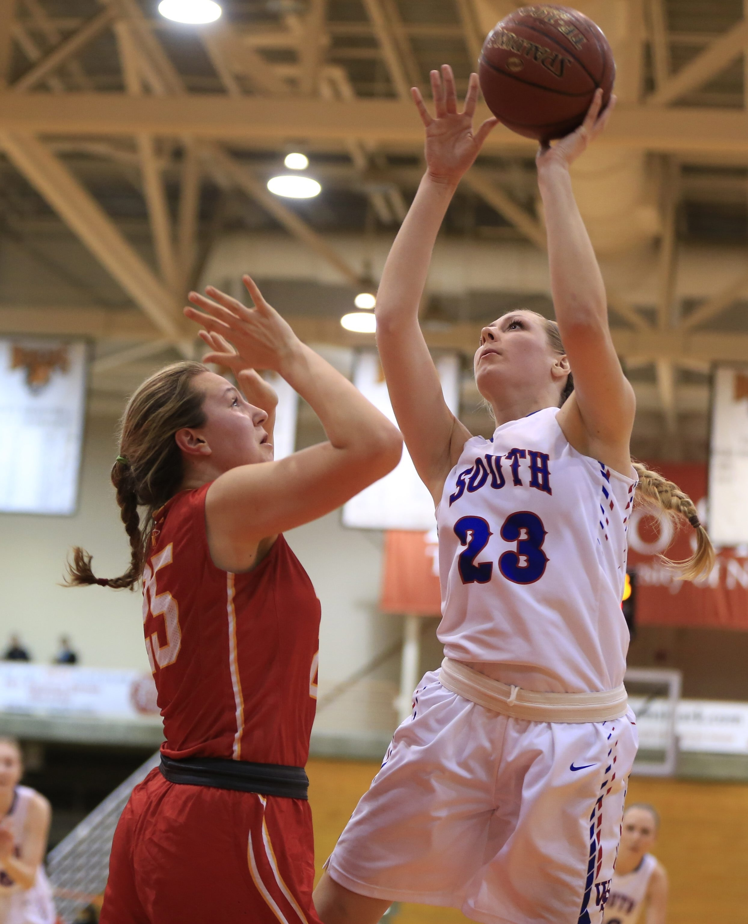Williamsville South's Brianna Neeley goes up for two of her team-high 21 points against rival Williamsville East.