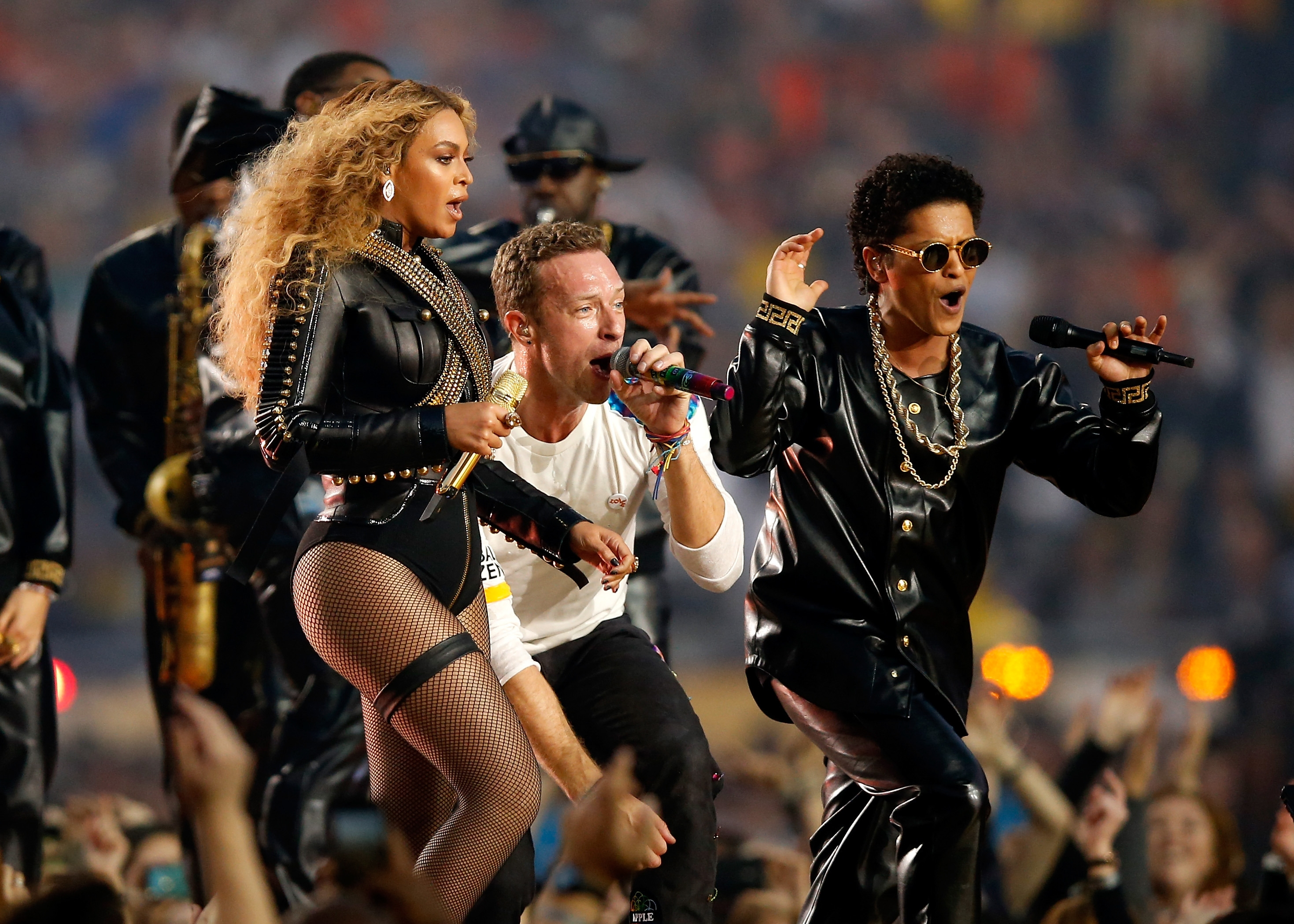 A trio of stars: Beyonce, Chris Martin of Coldplay and Bruno Mars worked together for a song at halftime.