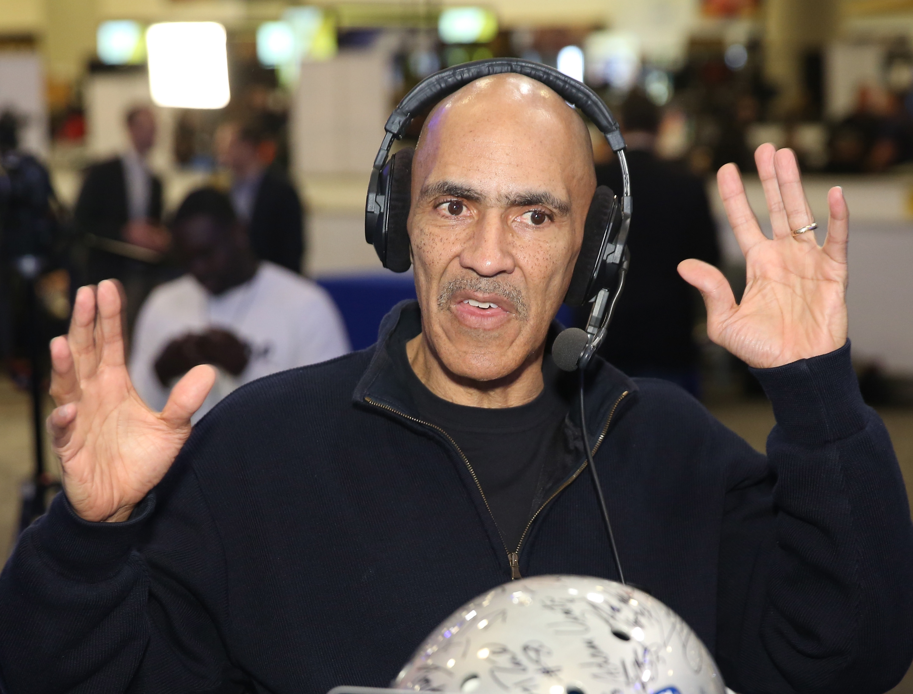 SAN FRANCISCO, CA - FEBRUARY 05:  Former NFL player and head coach Tony Dungy visits the SiriusXM set at Super Bowl 50 Radio Row at the Moscone Center on February 5, 2016 in San Francisco, California.  (Photo by Cindy Ord/Getty Images for Sirius)