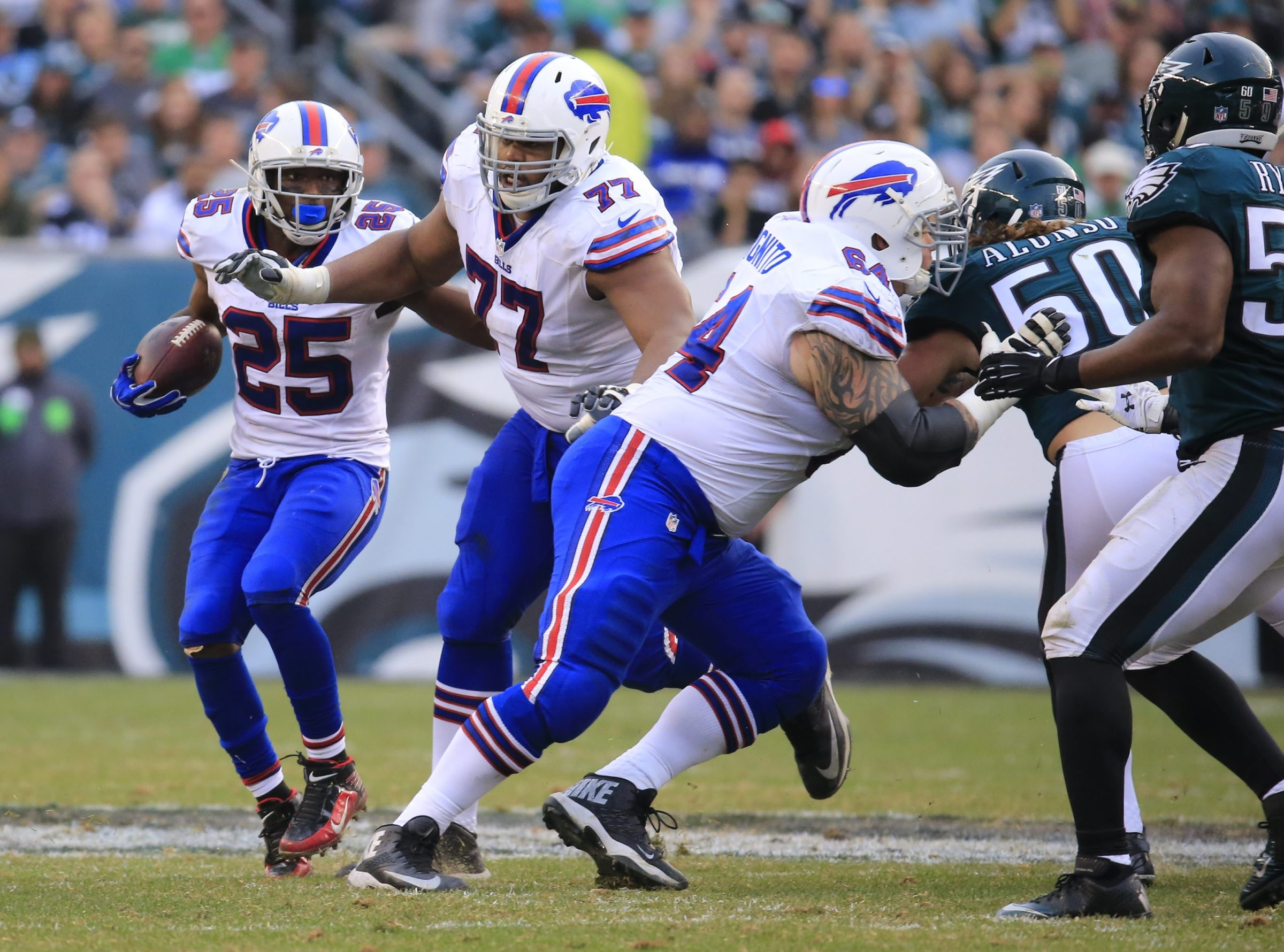 Buffalo Bills LeSean McCoy follows his blocks against the Philadelphia Eagles during second half action at Lincoln Financial Field on Sunday, Dec. 13, 2015.  (Harry Scull Jr./Buffalo News)