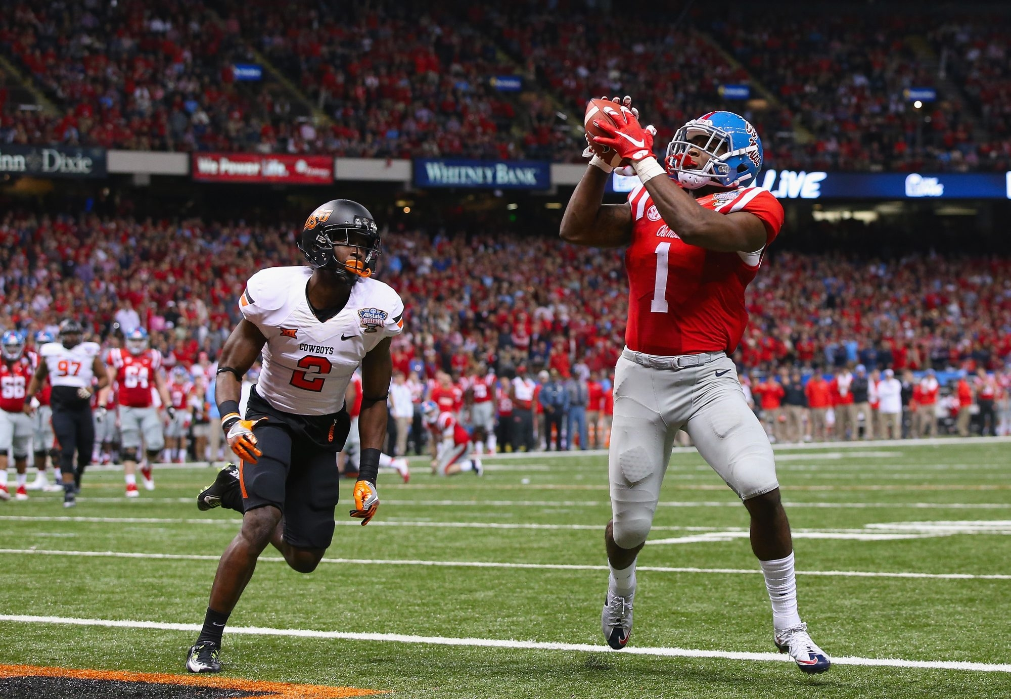 Mississippi receiver Laquon Treadwell burned Oklahoma State for three touchdowns in the Rebels' 48-20 win in the Sugar Bowl. Treadwell is rated by many as the top receiver in the NFL Draft.