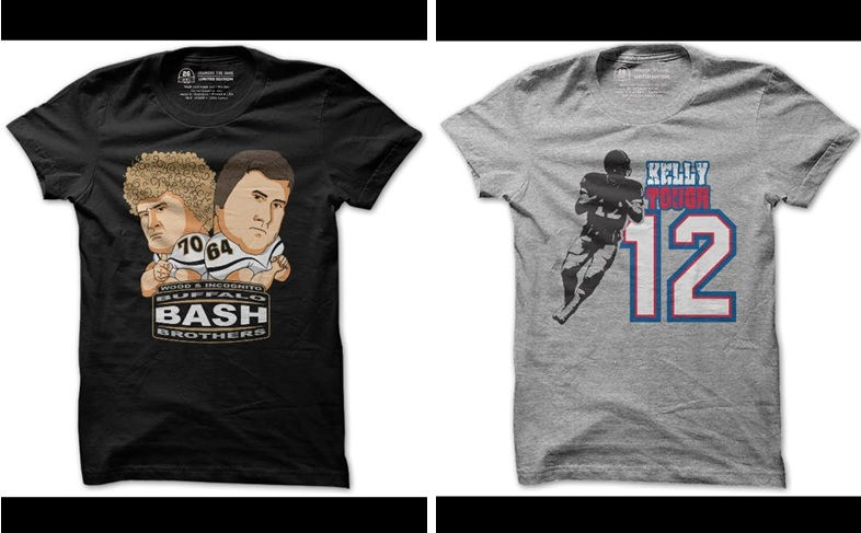 26 Shirts' fundraiser for Chris Pepper included a two-week sale of the Bash Brothers, left, and a three-day sale of Kelly Tough.