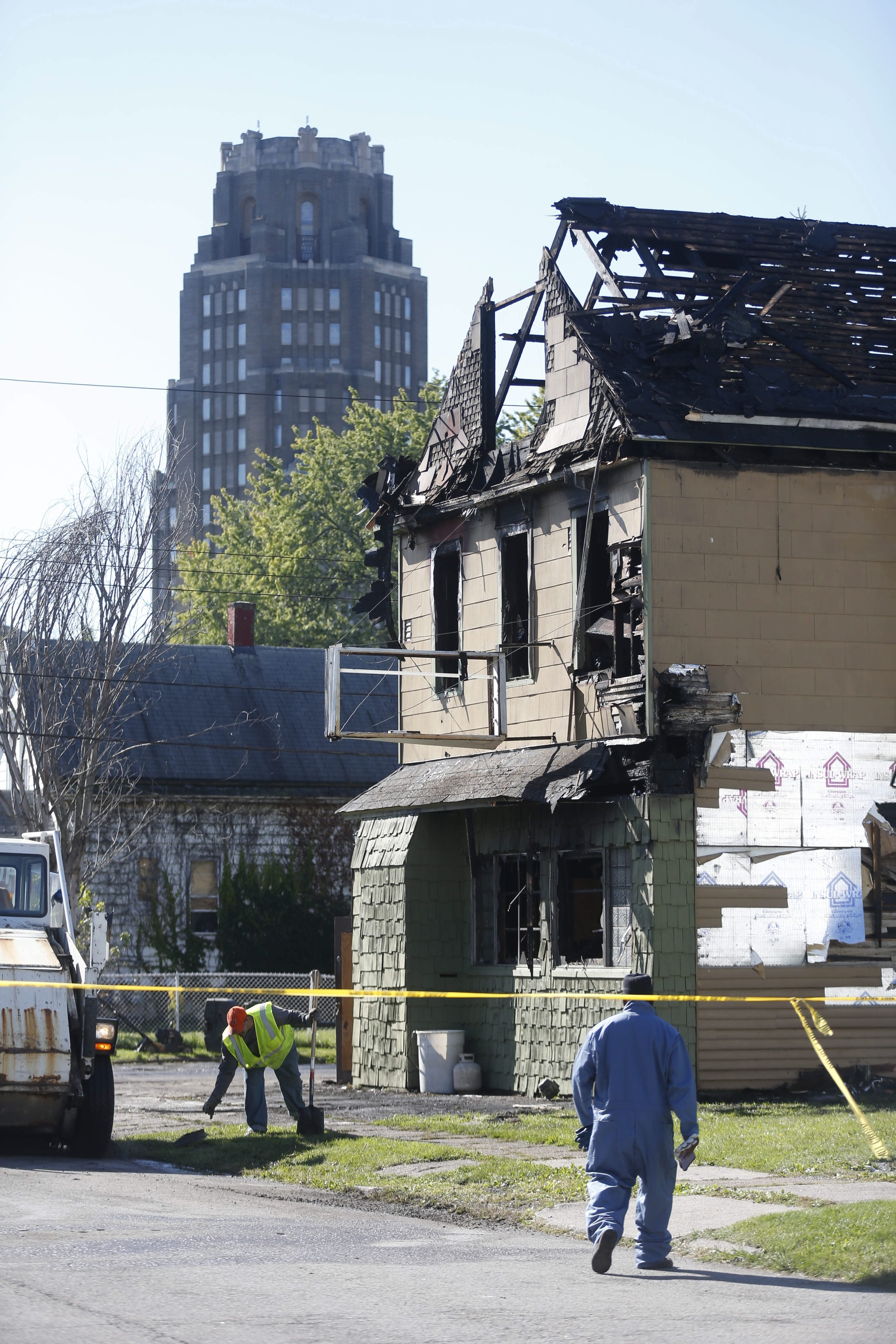 The scene of the fire at a rooming house on Curtiss Street where two men died in October.  (Robert Kirkham/Buffalo News)