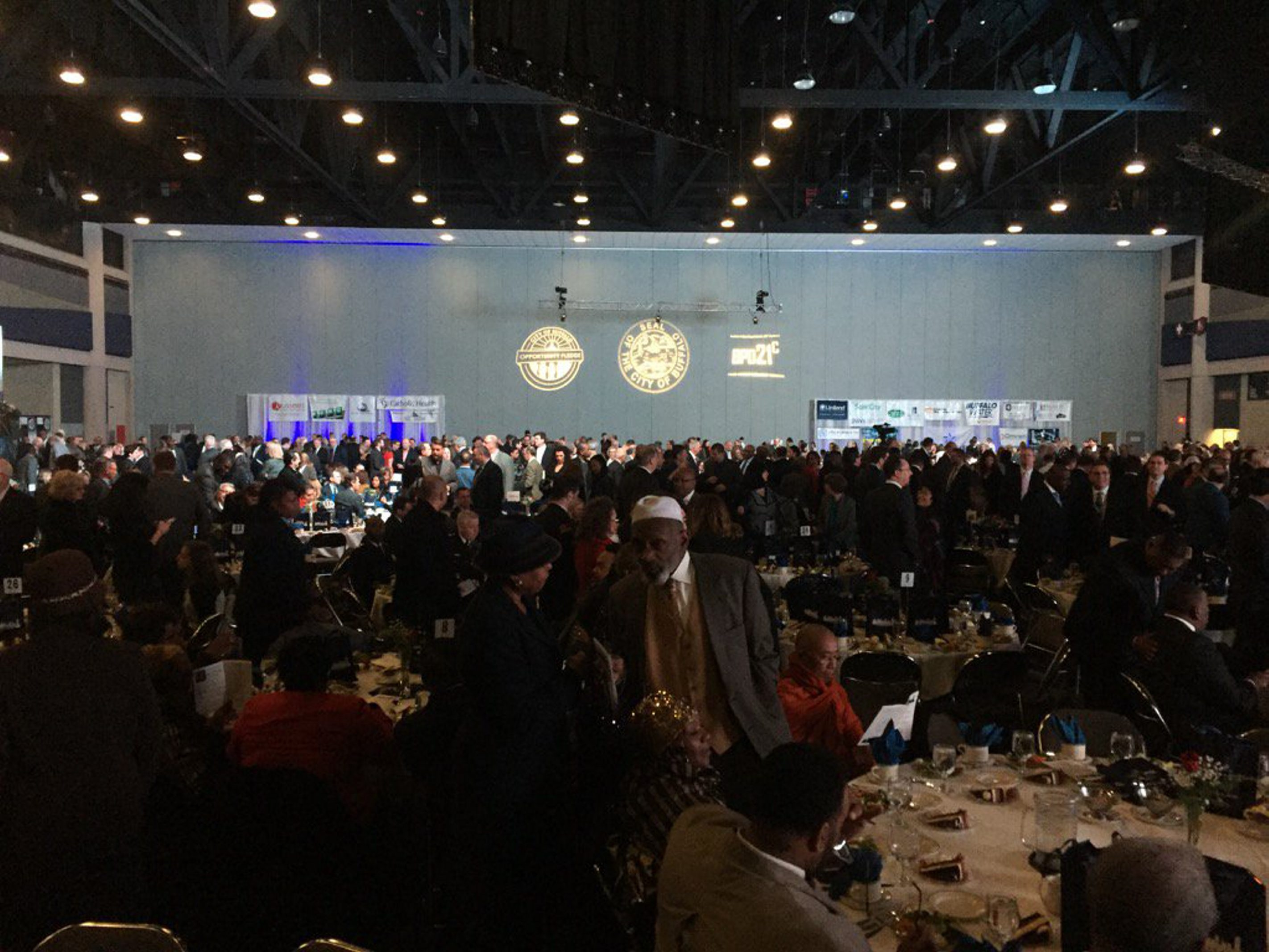 """""""The state of our city is strong,"""" said Mayor Byron W. Brown at Friday's State of the City address luncheon in the Buffalo Niagara Convention Center. (John Hickey/Buffalo News)"""