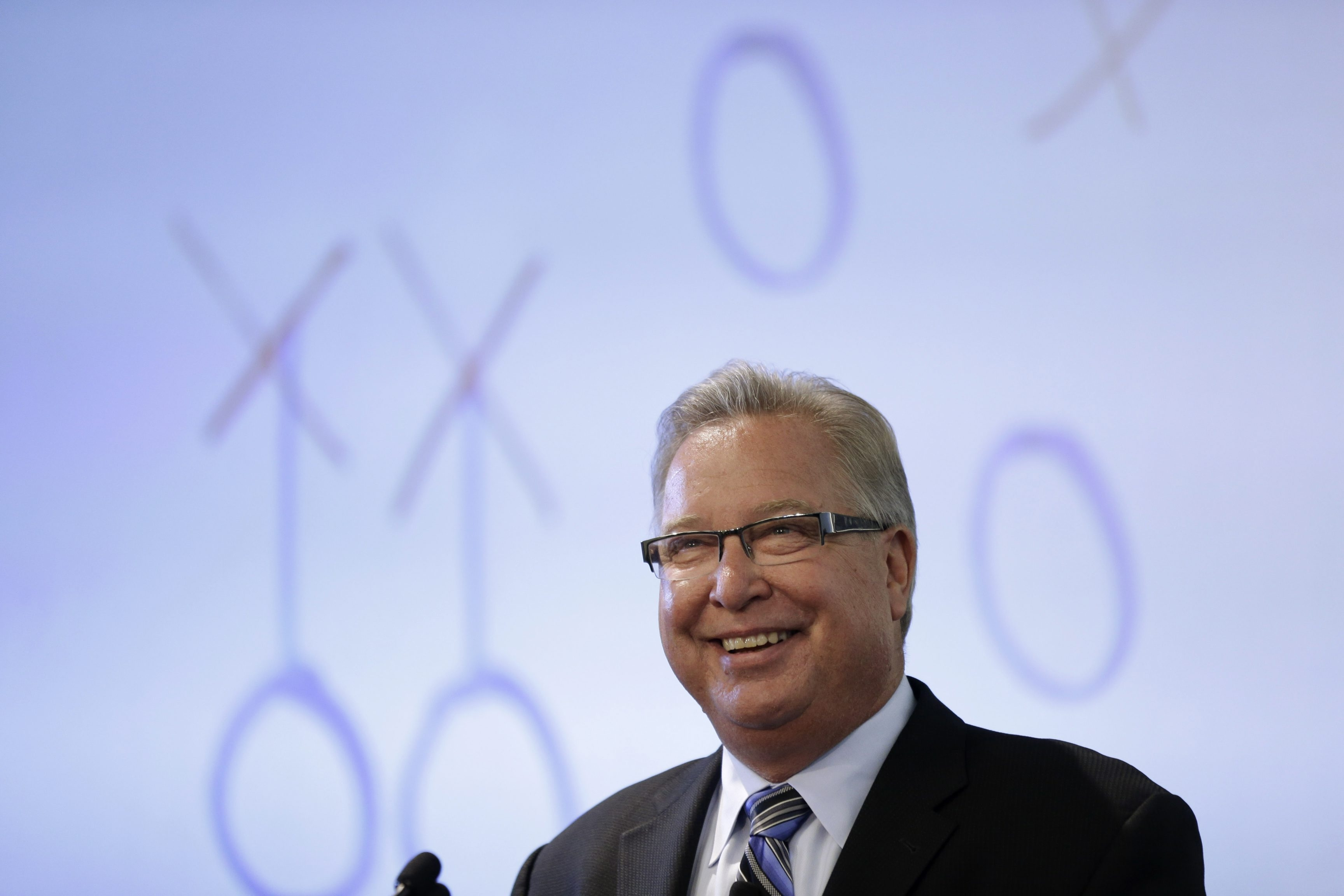 Former Philadelphia Eagle, Philadelphia Soul owner, and ESPN analyst Ron Jaworski speaks during an event discussing impact of sports, hosted by the Rothman Institute, Wednesday, May 22, 2013, in Philadelphia. (AP Photo/Matt Rourke)