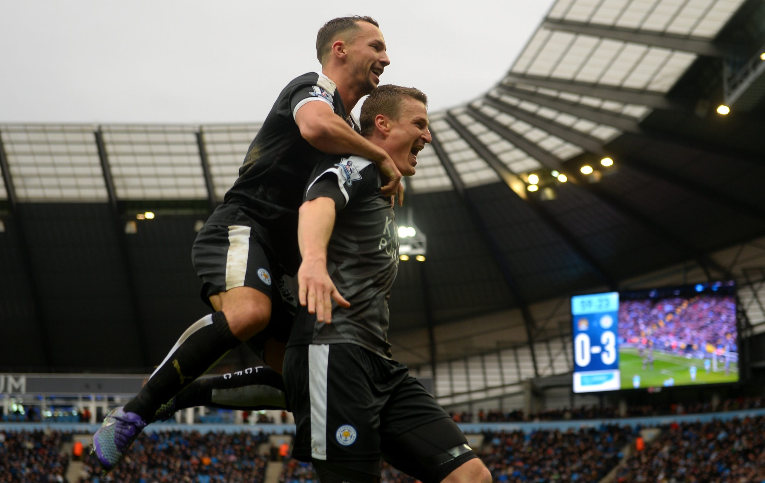 Robert Huth of Leicester City celebrates a goal against Manchester City.