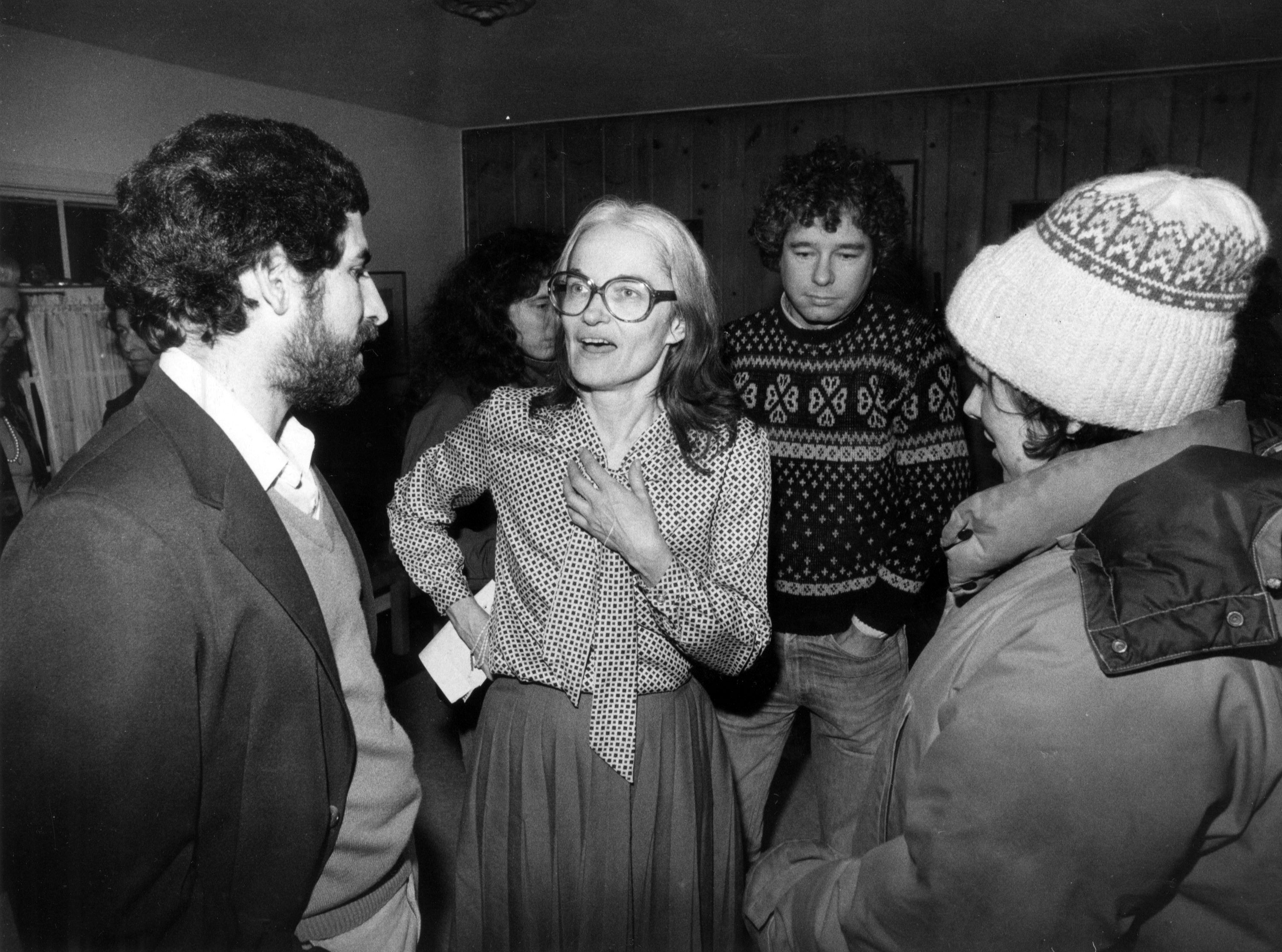 Cynthia B. Dwyer, then 49, gets reacquainted with family and friends at Amherst home after release from Iranian captivity in February 1981.