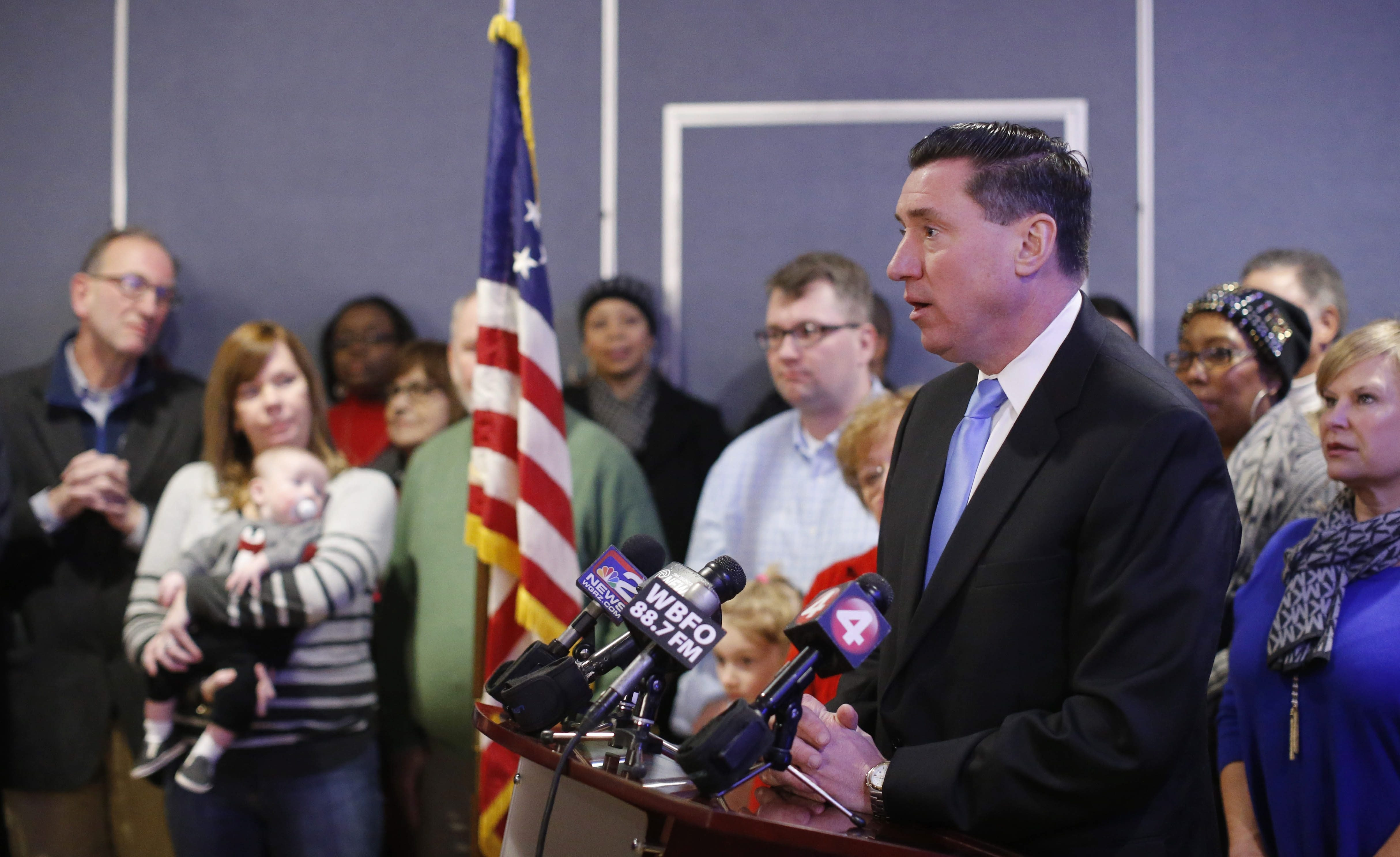Erie County District Attorney candidate John Flynn addresses the media following his endorsement by the Erie County Democrats.