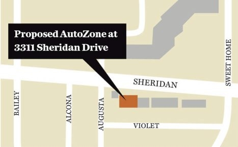 Map shows proposed AutoZone on Sheridan Drive