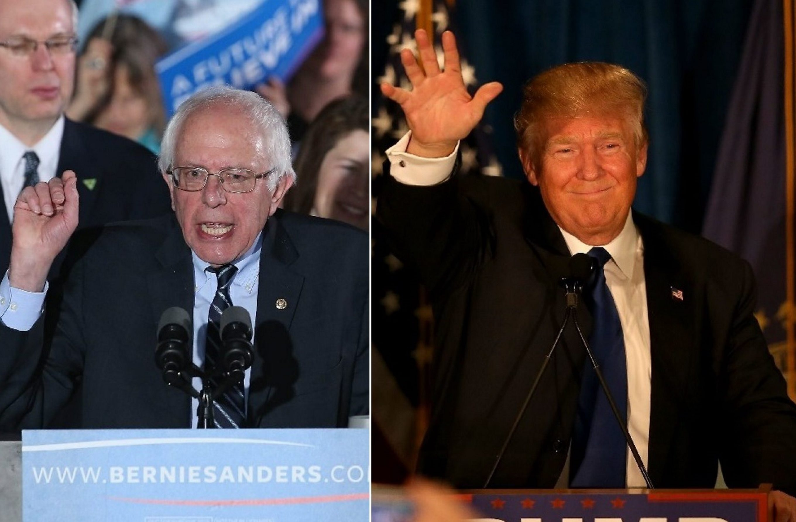 Bernie Sanders, left, tallied 32 percent of Erie County Facebook 'likes,' while Donald Trump, right, got 28 percent. Democrats and Republicans vote in presidential primaries in New York State on April 19.
