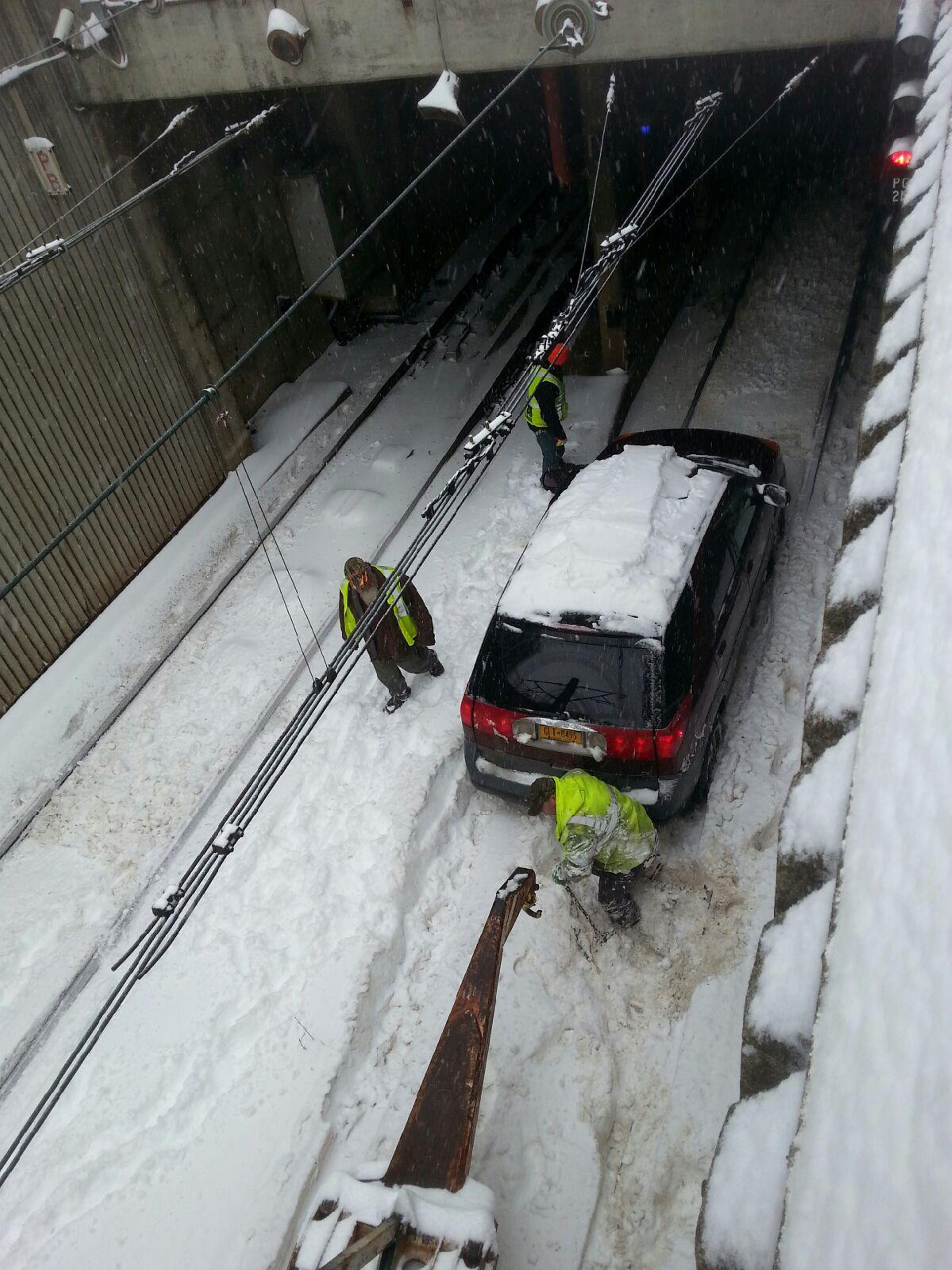 Overhead view of the car that ended up in the Metro Rail tunnel during Tuesday's heavy snow.