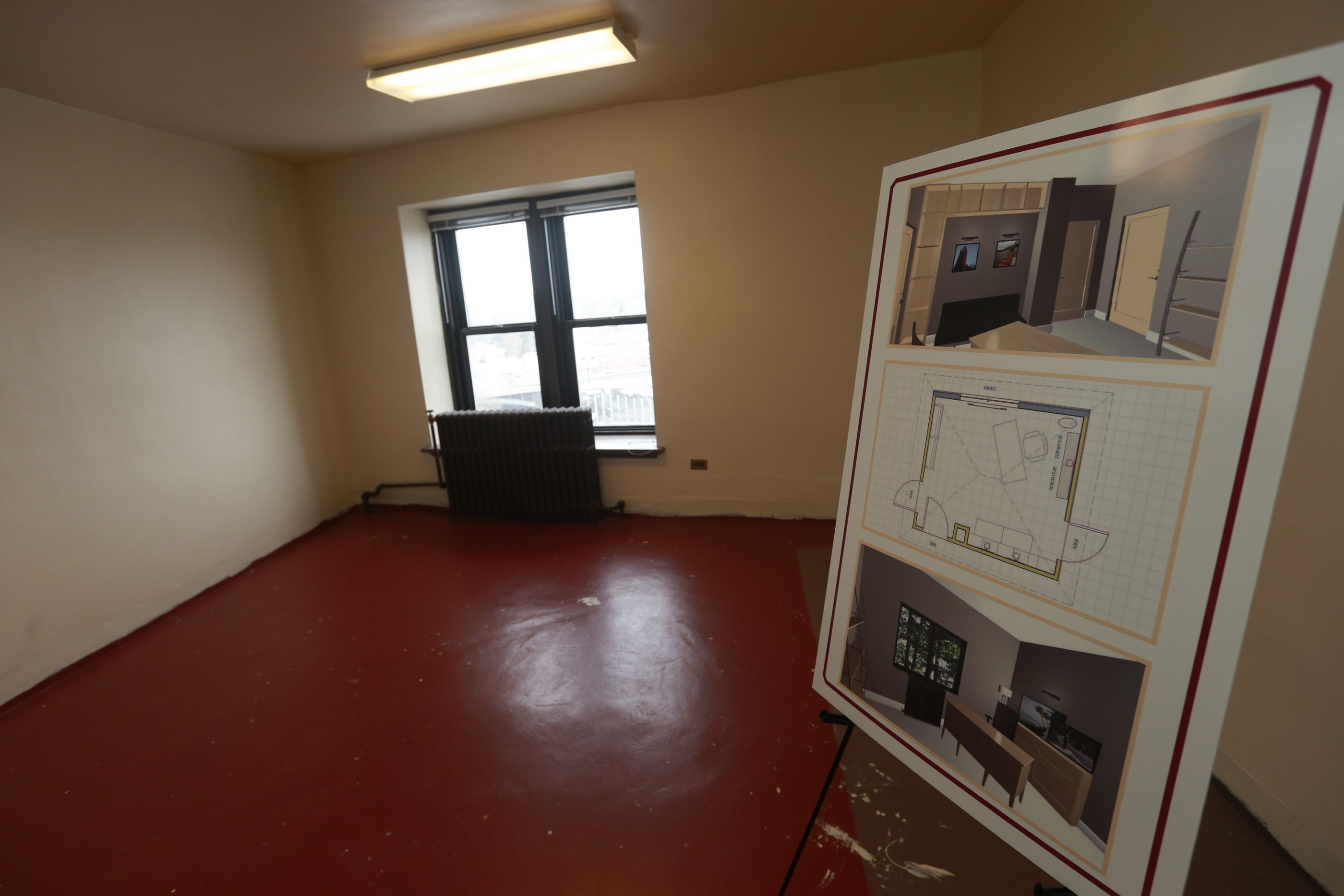 A drawing of how some of the 17,000 square feet lease may be used, much of which was vacated on the death of art collector Charles Rand Penney, who kept his vast amount of stuff on the fifth floor of the at Bewley building, Lockport, N.Y., on  Wednesday,  Feb. 10, 2016.   (John Hickey/Buffalo News)