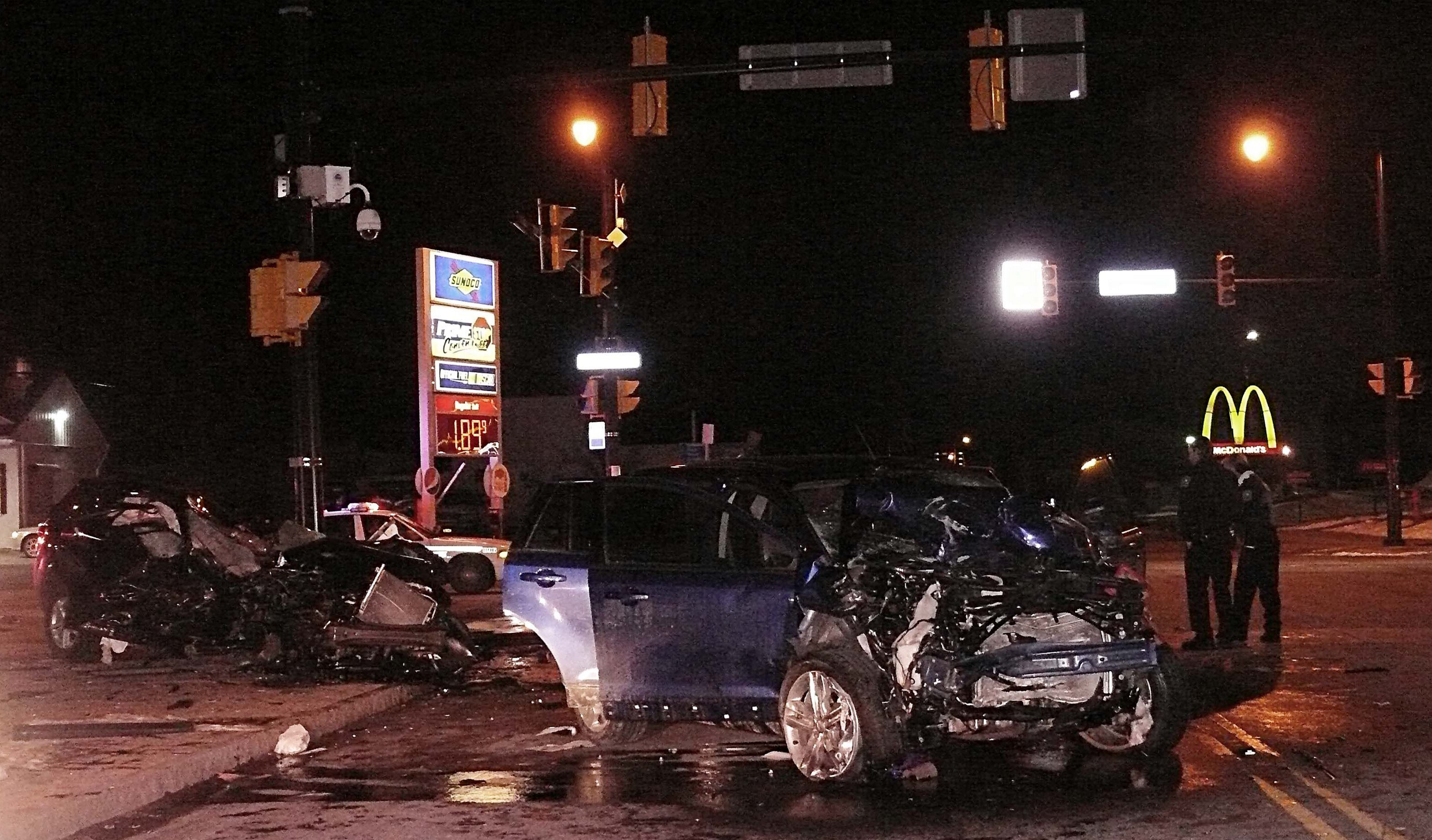 The scene of a fatal accident involving two cars Friday night at East Delavan and Grider. (JoAnne McNamara/Special to The News)