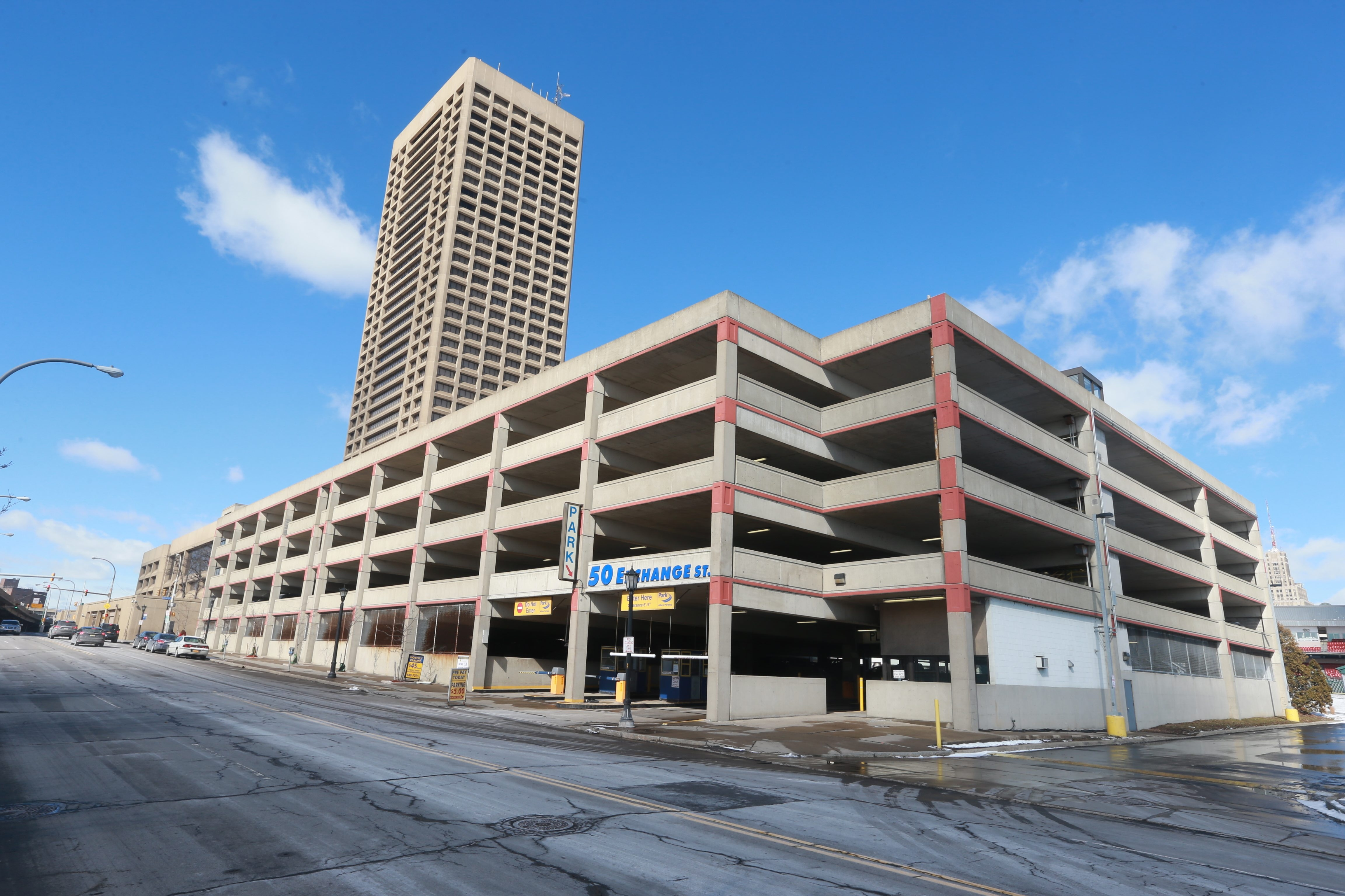 The parking garage attached to One Seneca Tower is still owned by New York City-based Seneca One Realty.