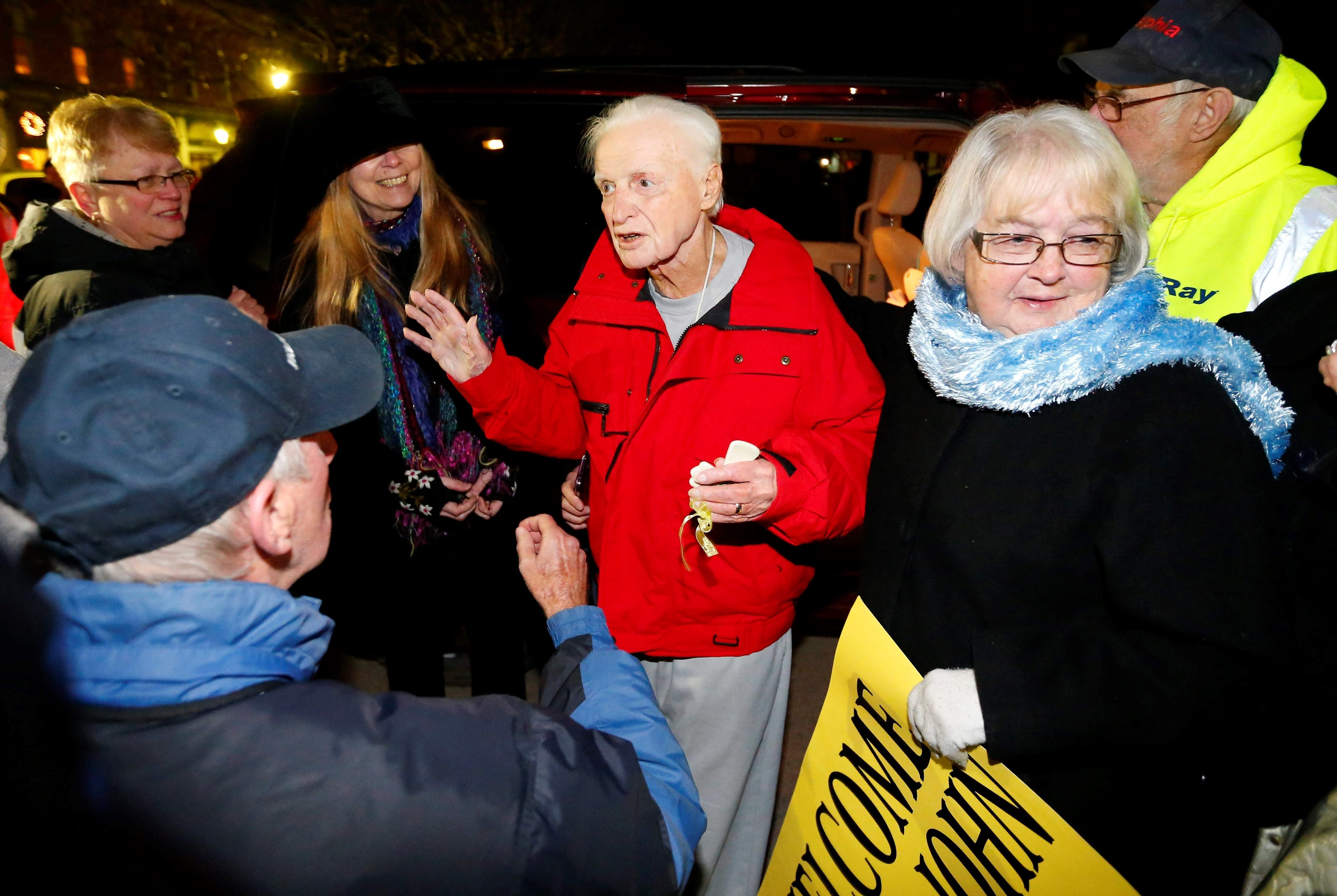 John Rigas is welcomed home from prison by the people of Coudersport, Pa., on Feb. 22, 2016.  (Mark Mulville/Buffalo News)