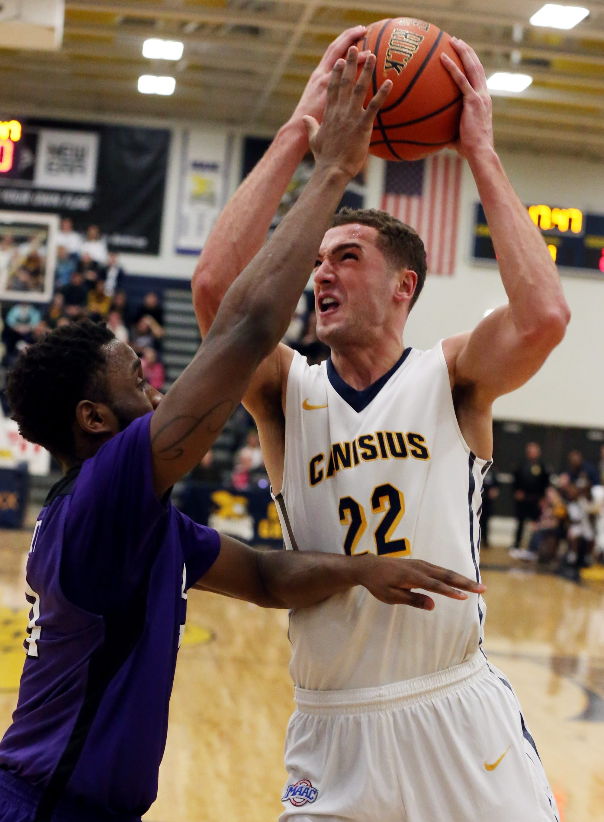 Canisius junior forward Phil Valenti shared scoring honors with Malcom McMillan at 14 points each.