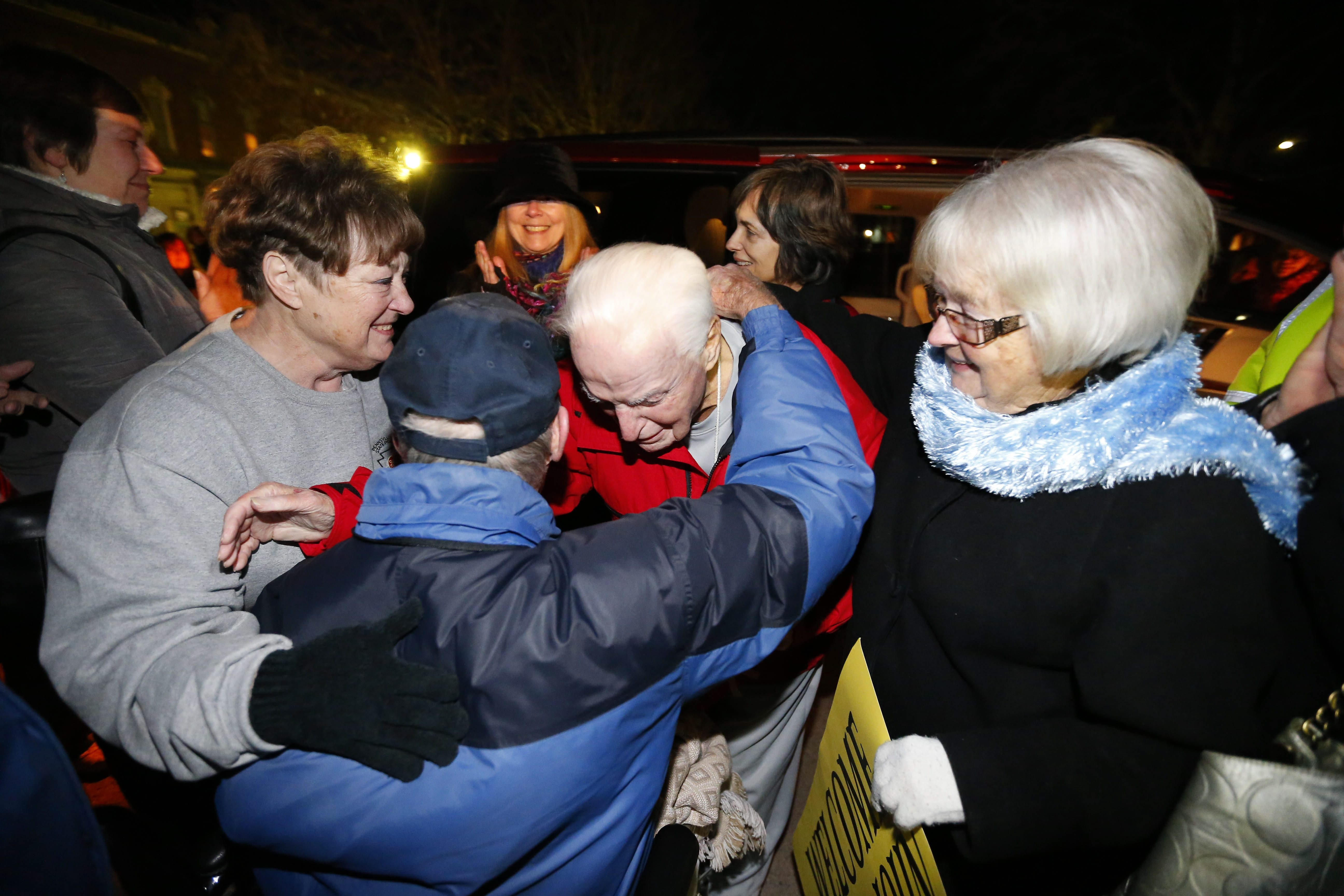 John J. Rigas is welcomed home from prison by the people of Coudersport, Pa., on Monday. See a photo gallery at buffalonews.com.