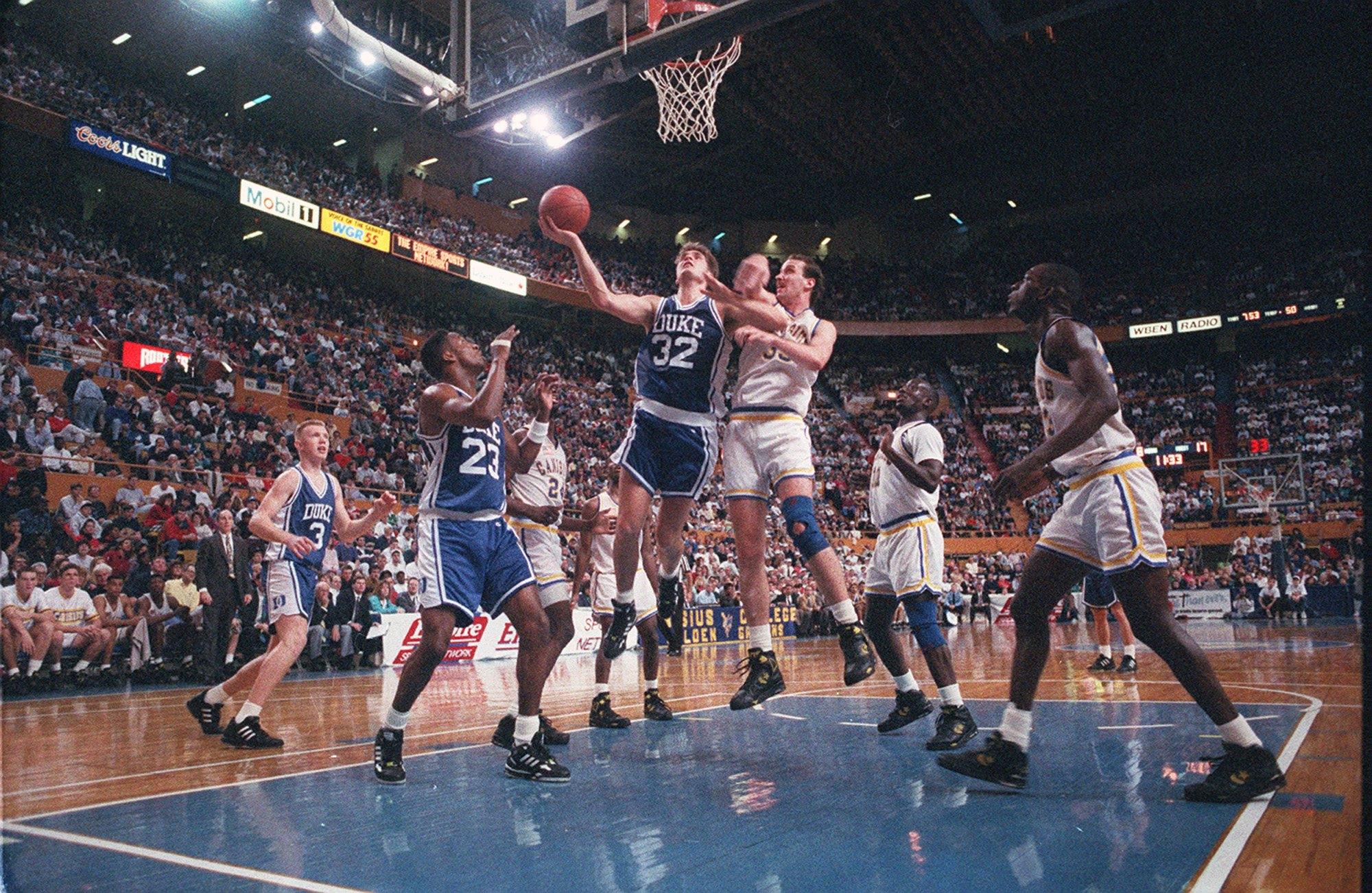 Duke's Christian Laettner goes up for a basket against Canisius during a game played in Buffalo in December 1991.