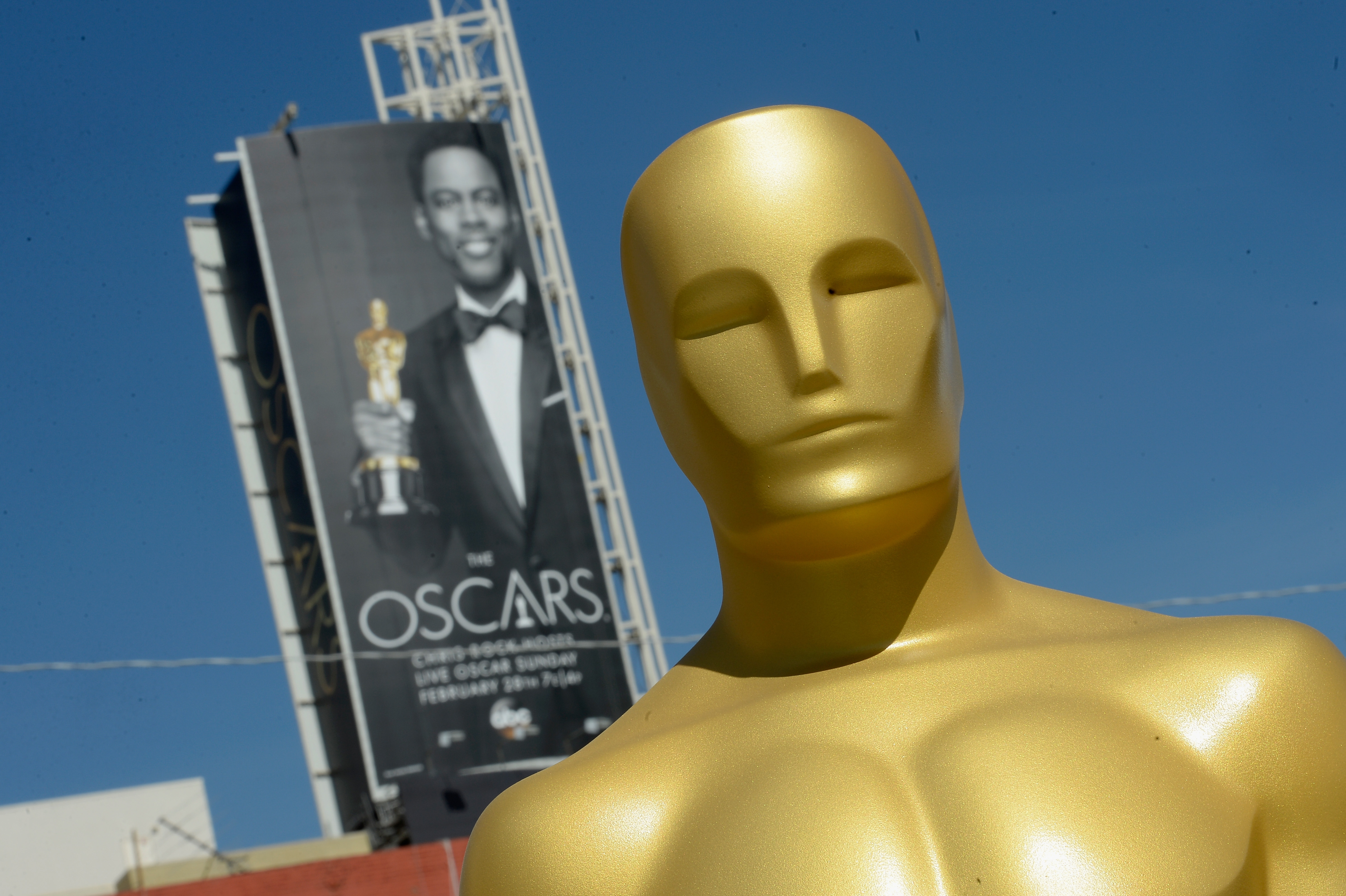 Glittering affair: An Oscar statue is seen as preparations continue for the 88th Annual Academy Awards at Hollywood & Highland Center on Tuesday in Hollywood.