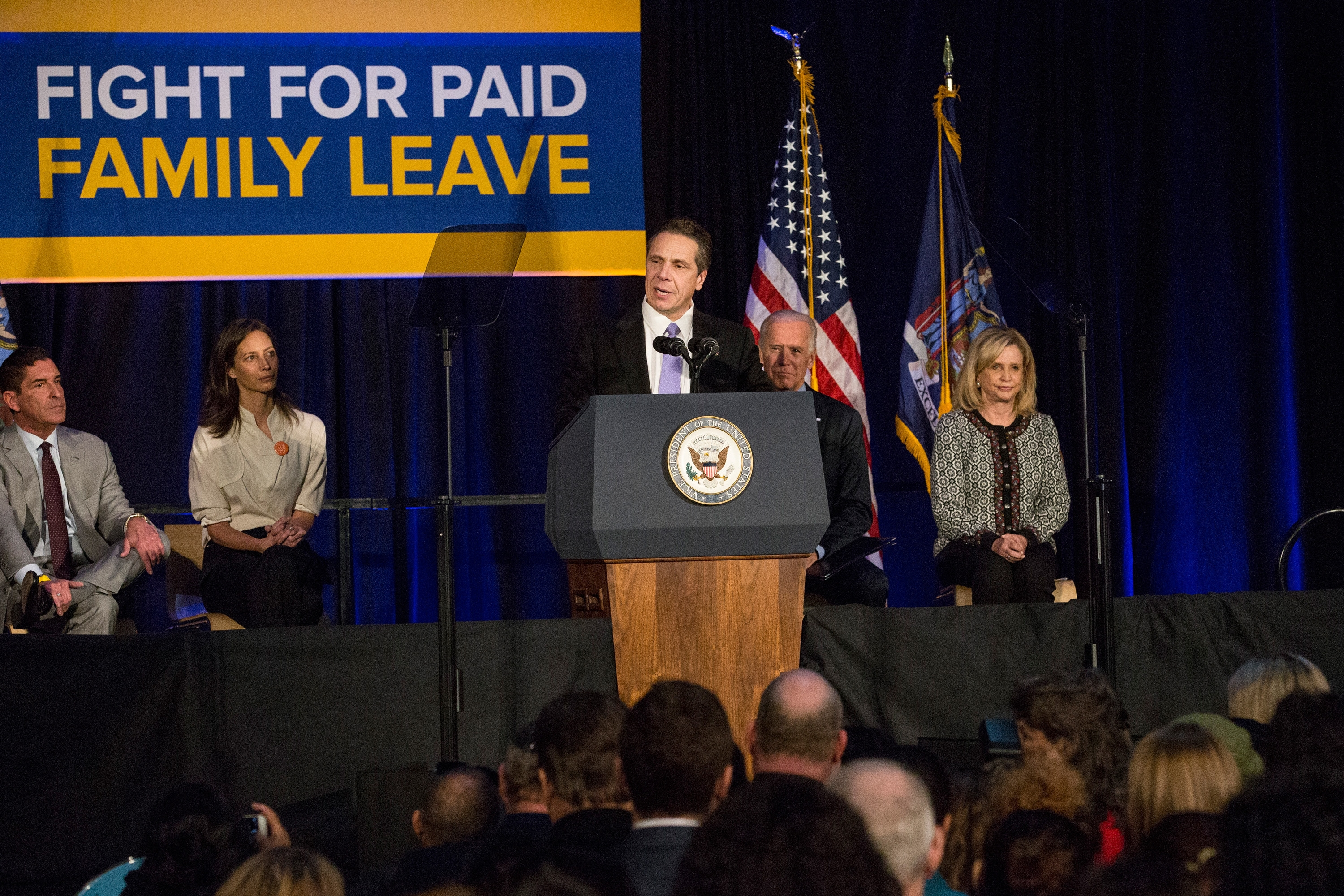 Gov. Andrew Cuomo pushed for paid family at a rally in New York City Jan. 29, 201. (Getty Images)