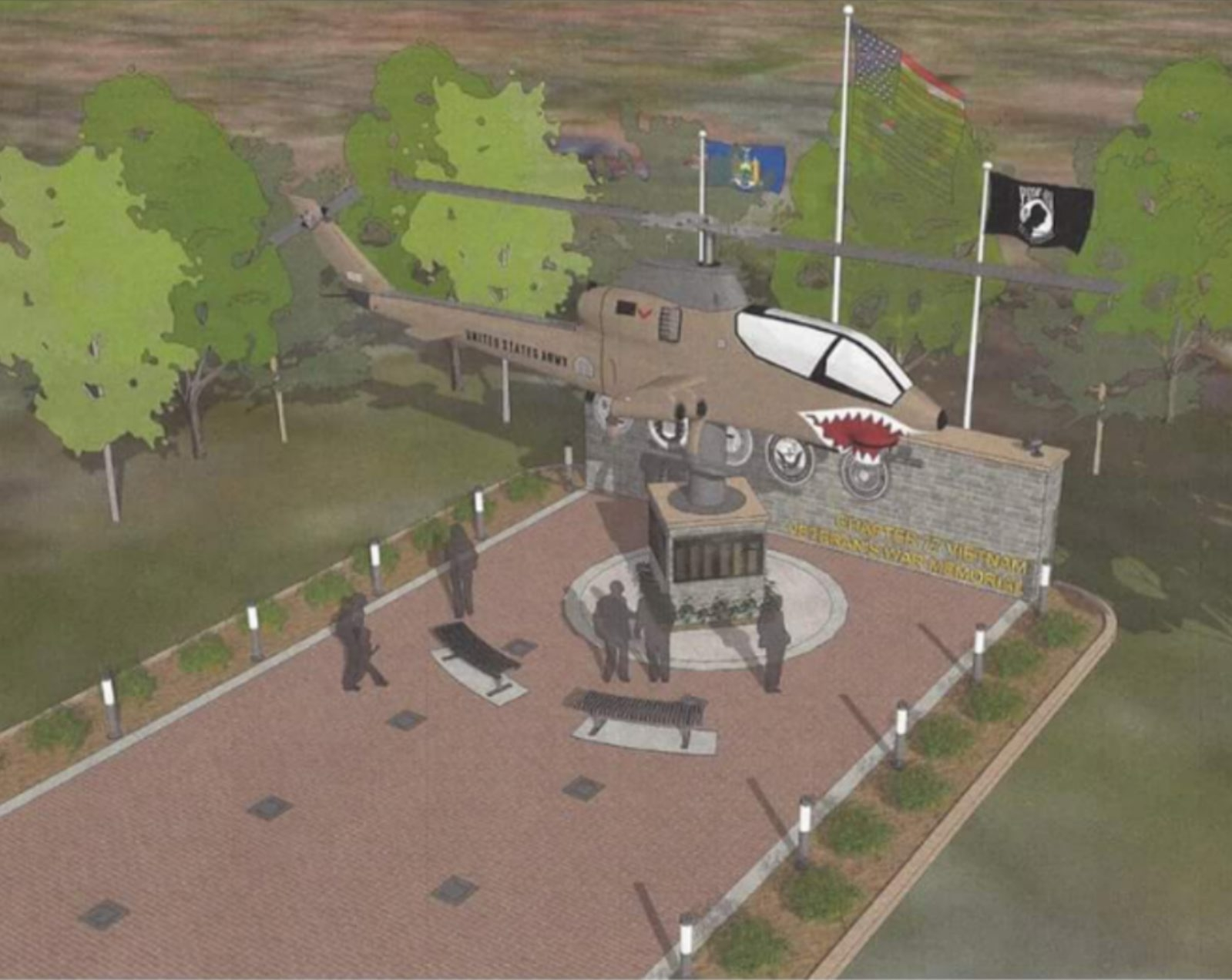 This is a sketch of the Vietnam helicopter memorial that Chapter 77 of the Vietnam Veterans of America wants to erect at at the entrance to Veterans Park in the City of Tonawanda.