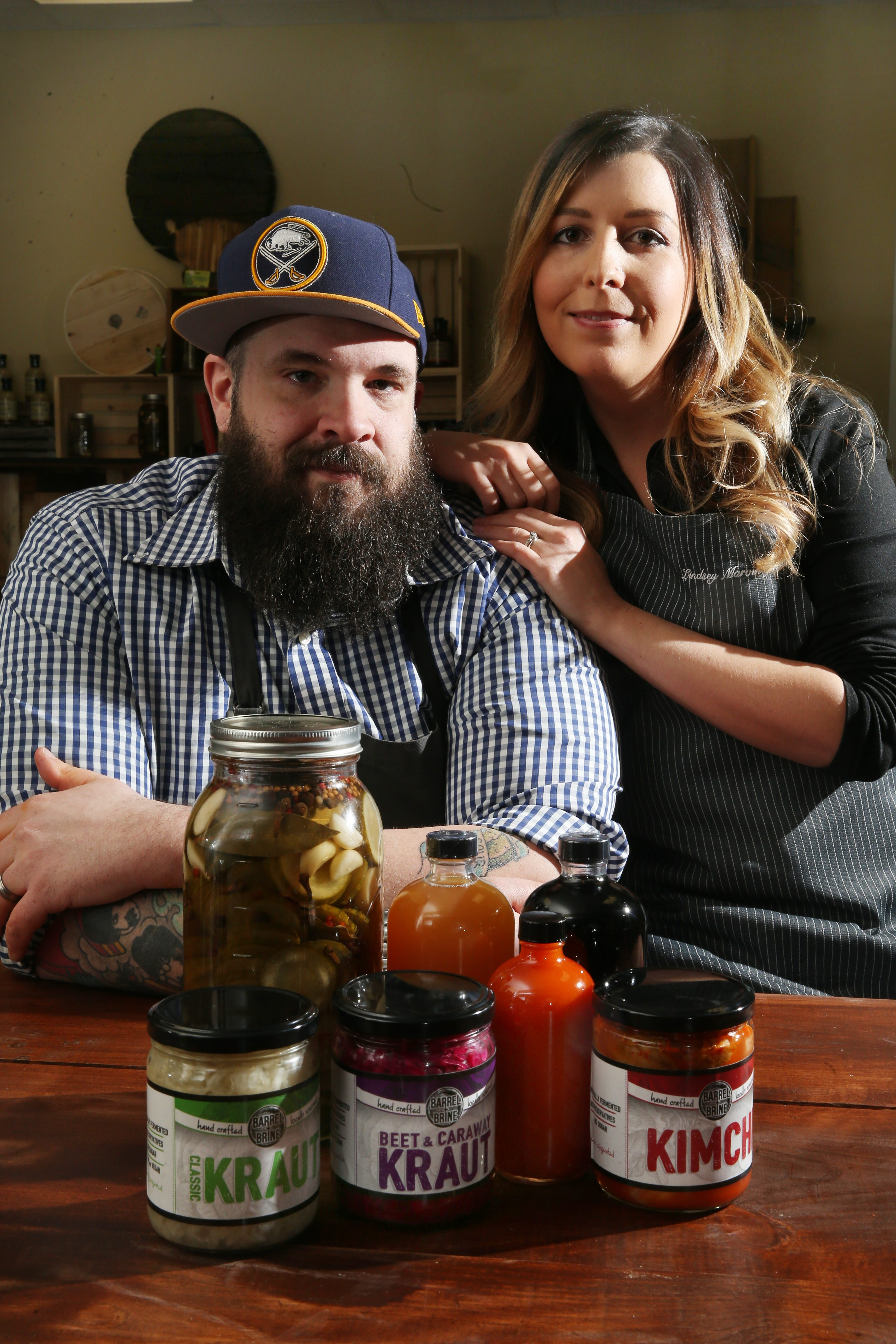 Barrel + Brine is a new store at 257 Carolina St. in Buffalo, that specializes in making fermented foods. Owners RJ and Lindsey Marvin display a few of their products.
