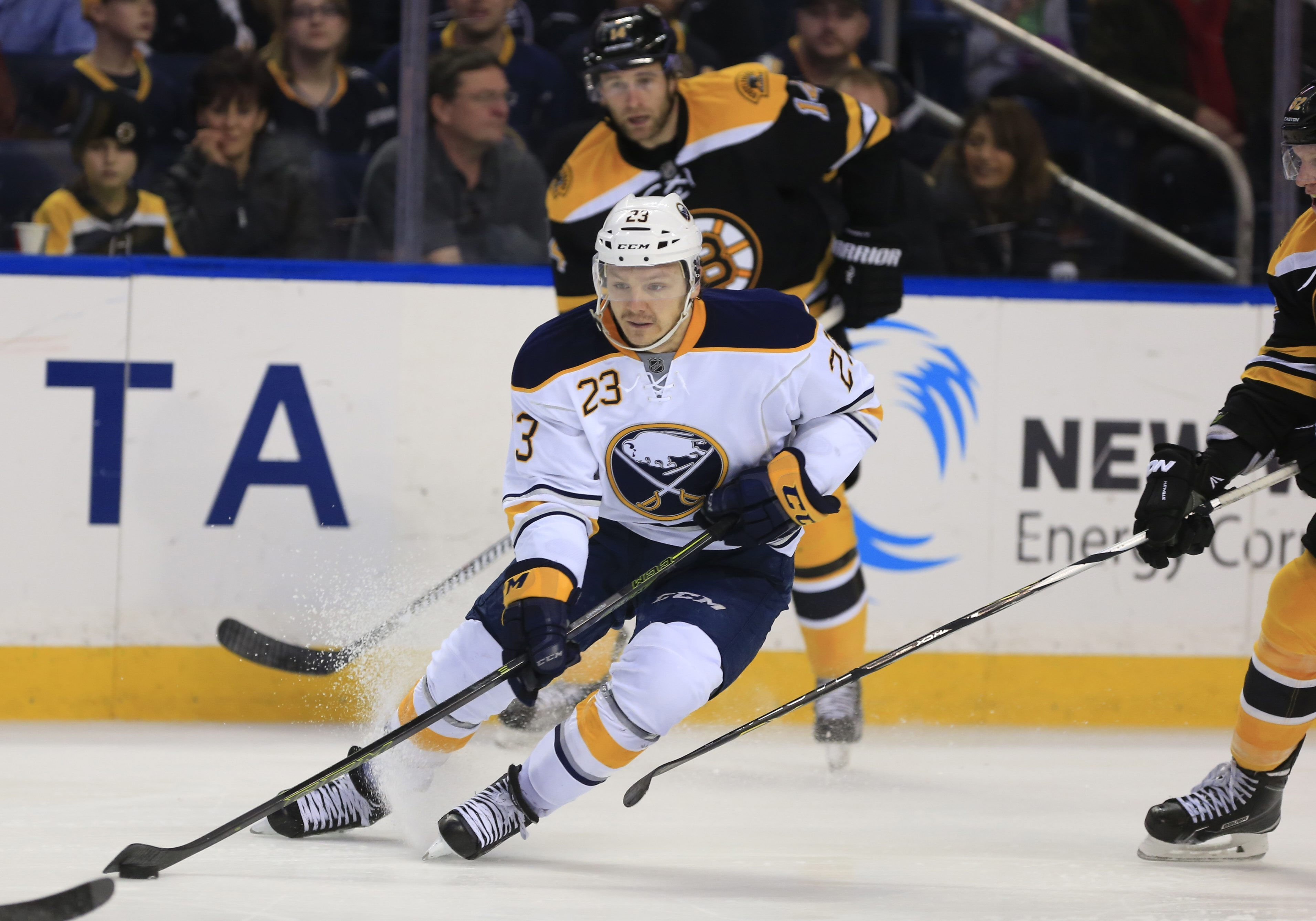 Sam Reinhart's goal Saturday night in Boston was his 14th of the season, four shy of the NHL rookie lead shared by Detroit's Dylan Larkin and Chicago's Artemi Panarin.  (Harry Scull Jr./Buffalo News file photo)