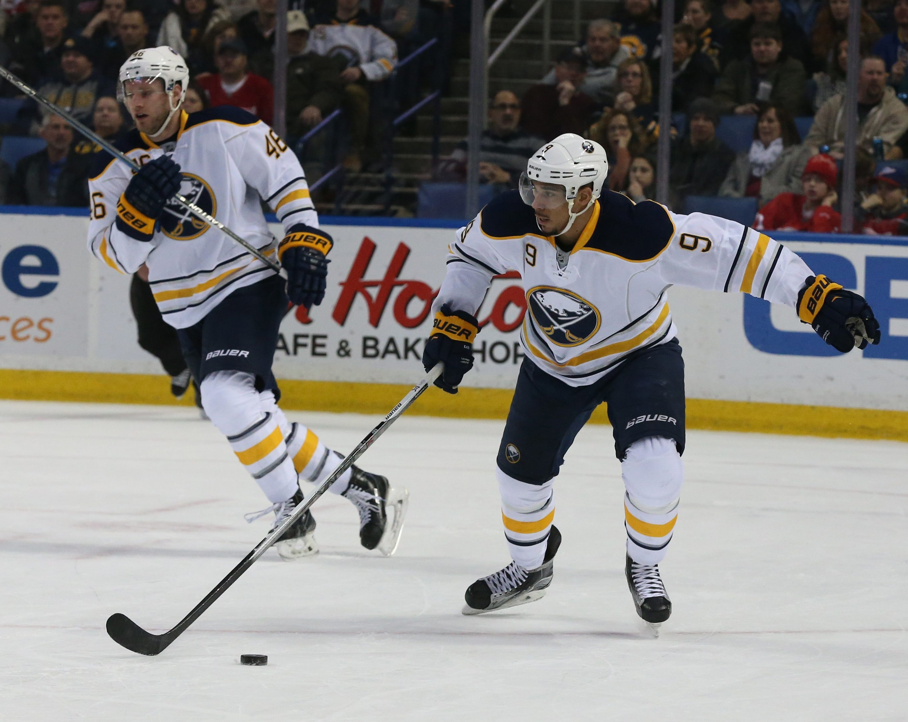 Buffalo Sabres left wing Evander Kane (9) skates with the puck in the first period at First Niagara Center in Buffalo, NY on Friday, Jan. 22, 2016.  (James P. McCoy/ Buffalo News)