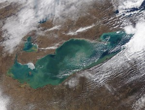 Lake Erie (pictured here on Feb. 6) was more than 99 percent free of ice on Wednesday. A blast of cold air and a southwest flow is expected to bring lake-effect snow into the metro area Friday. (NOAA GLERL)