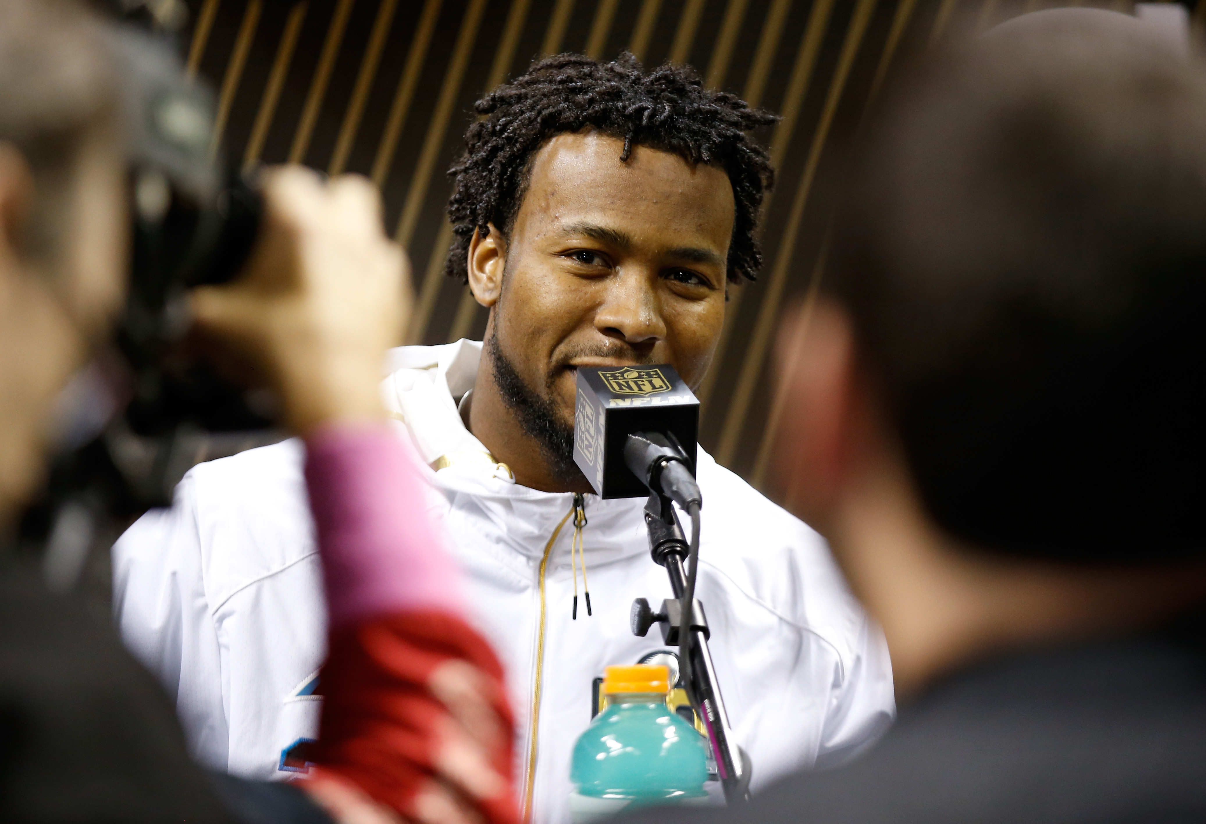 Josh Norman of the Carolina Panthers addresses the media at Super Bowl Opening Night. (Getty Images)
