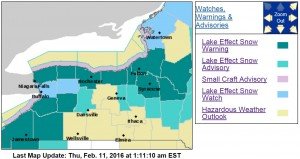 Lake-effect watches and warnings are in effect through Friday evening across WNY. (NWS)