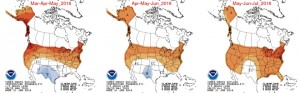 Outlooks show the Buffalo Niagara region in above-normal territory in three-month outlooks through at least July. (NOAA CPC)