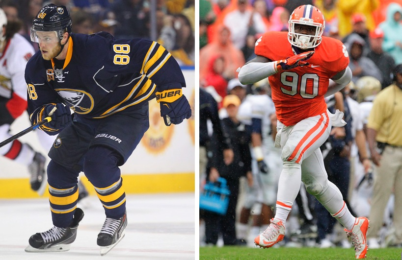 Sabres winger Jamie McGinn, left, and Clemson defensive end Shaq Lawson were big names in 'Sports Talk Sunday' on Feb. 28, 2016. (Mark Mulville/Buffalo News file photo; Getty Images)